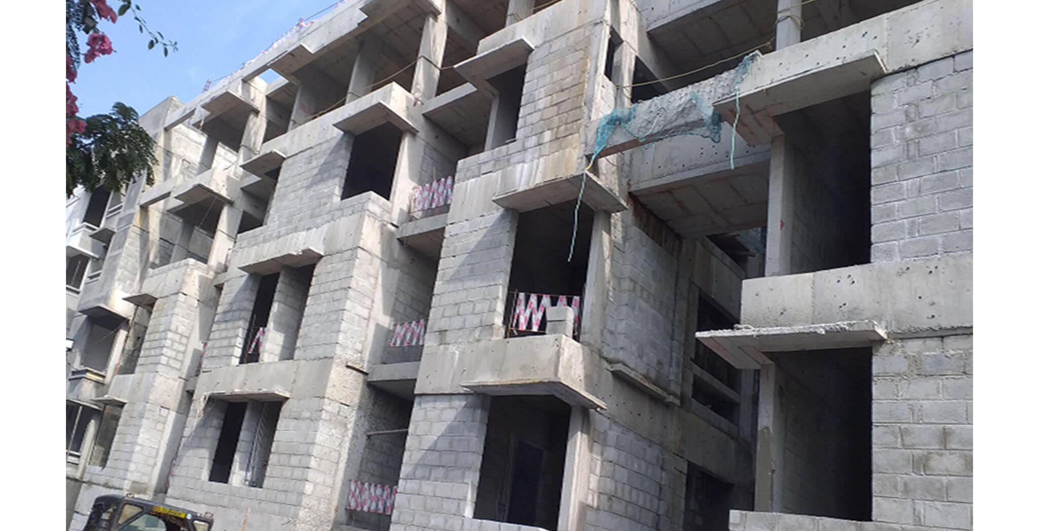 Oct 2020 - South side view: J & H Blocks—Blockwork in progress