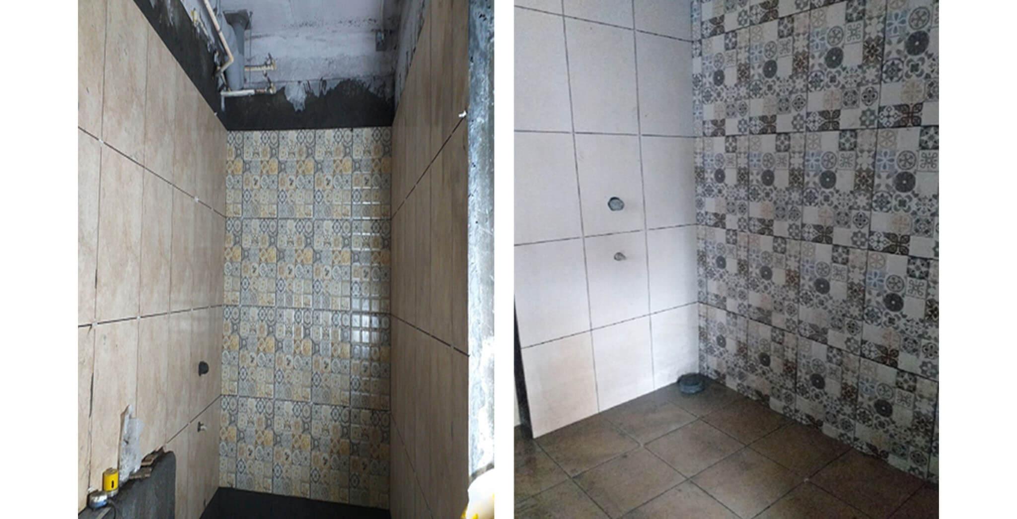 Oct 2020 - West side view: K, L, M, N & E Blocks—Tiling work-in-progress