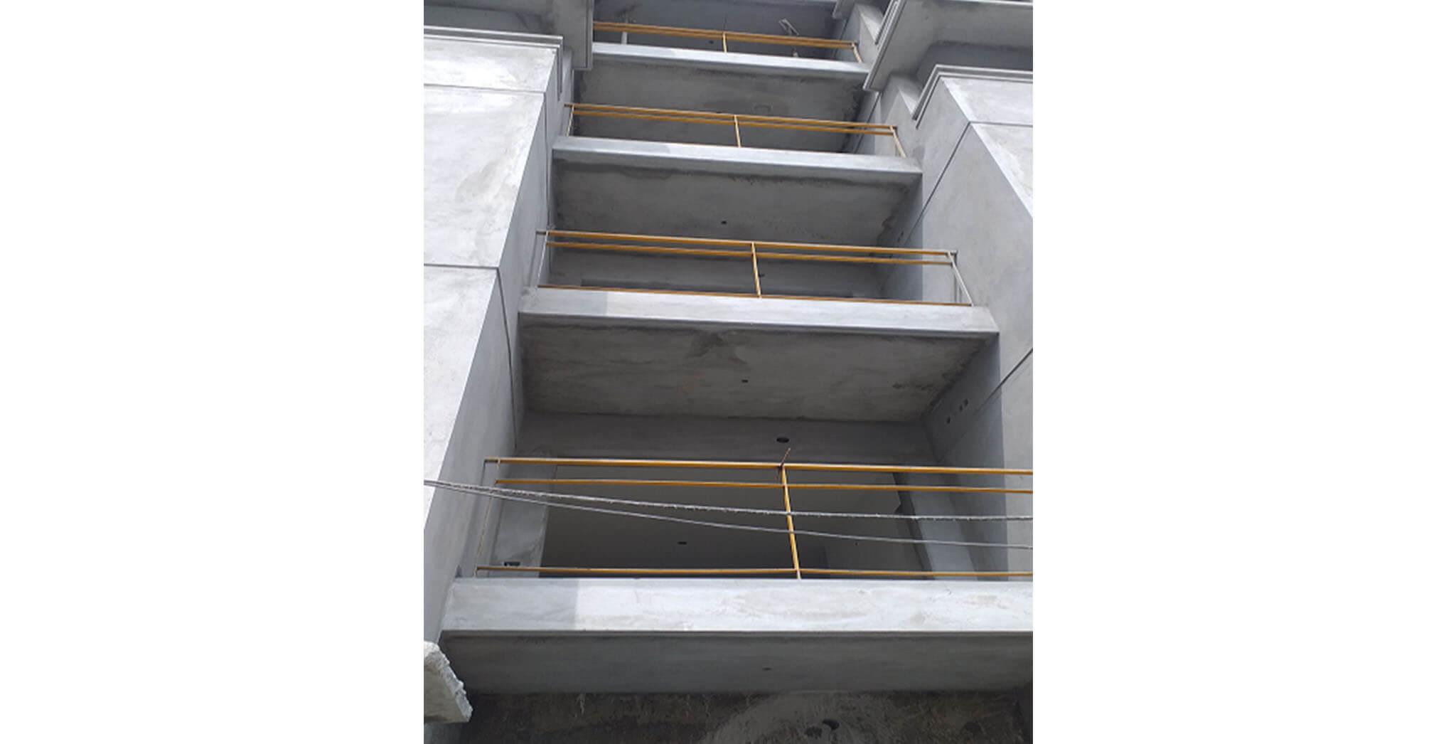 Oct 2020 - South side view: K, L, M Blocks—Balcony railing work-in-progress
