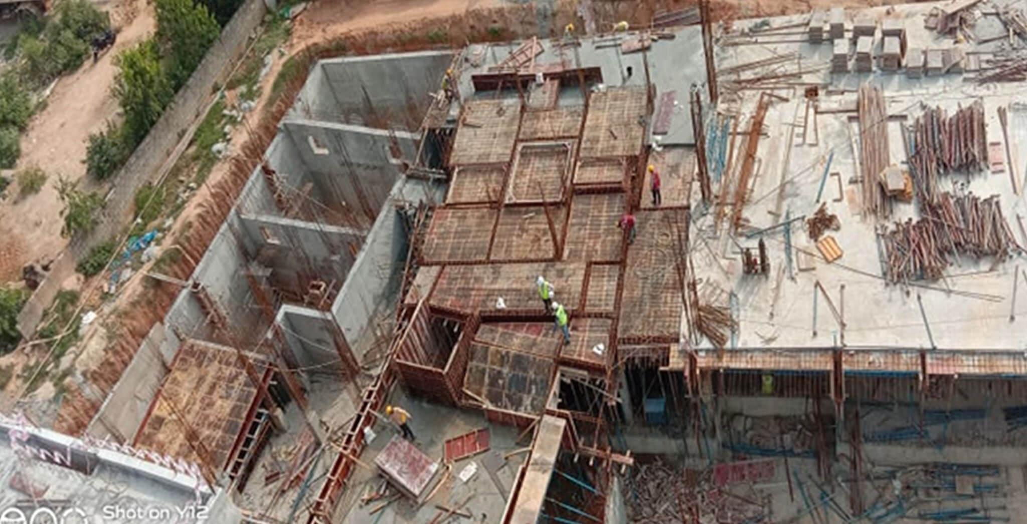 Oct 2020 - East side view: B Block—Ground floor shuttering work-in-progress