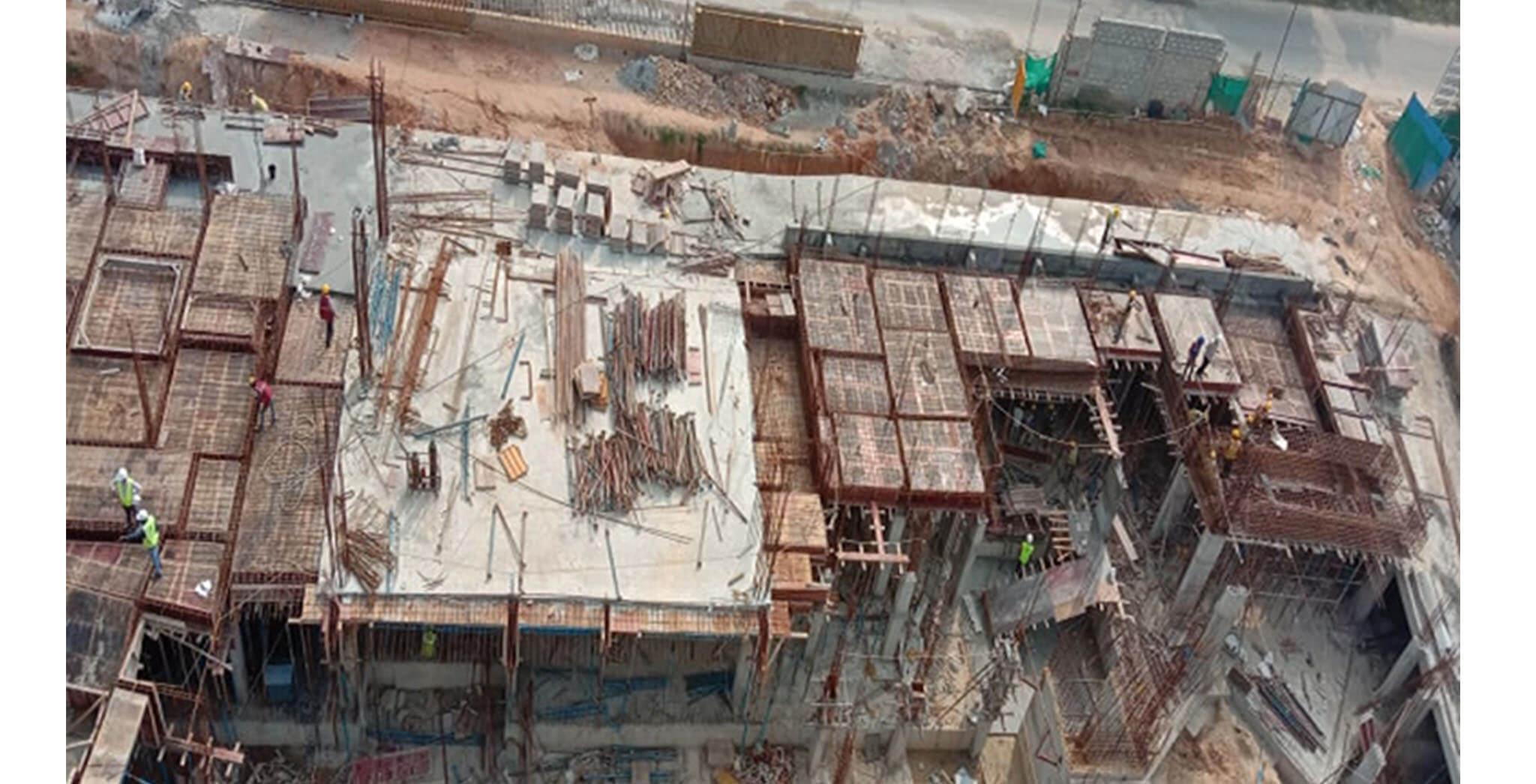 Oct 2020 - East side view: C Block—Ground floor slab shuttering & rebar work-in-progress