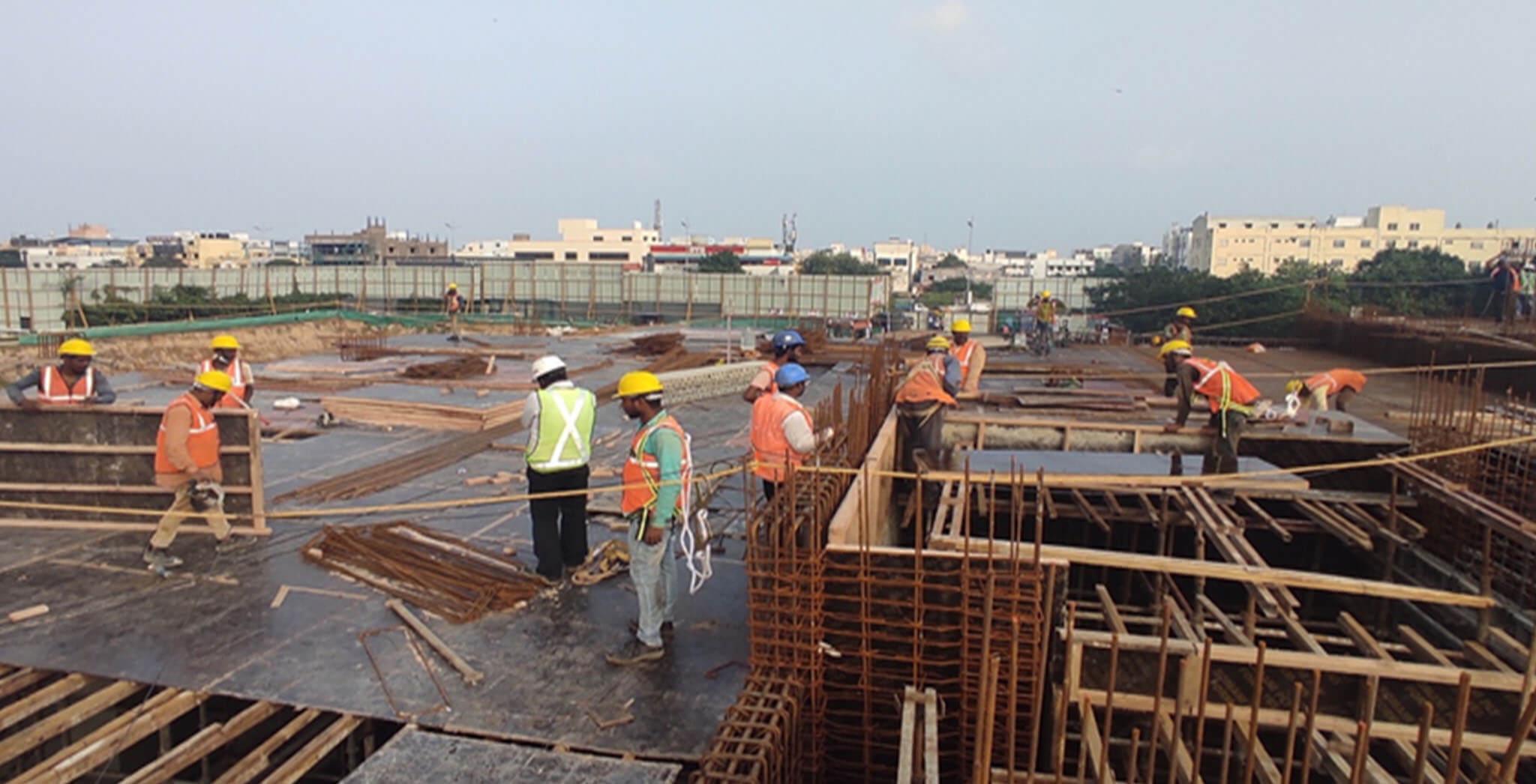 Dec 2020 - Tower A1: First floor level slab shuttering work-in-progress
