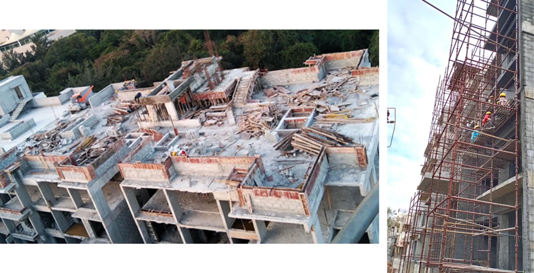 Dec 2020 - B Block: SHR and LMR bottom slab concreting work completed; North elevation external plastering, 4th floor blockwork, and 2nd floor internal plastering work-in-progress.