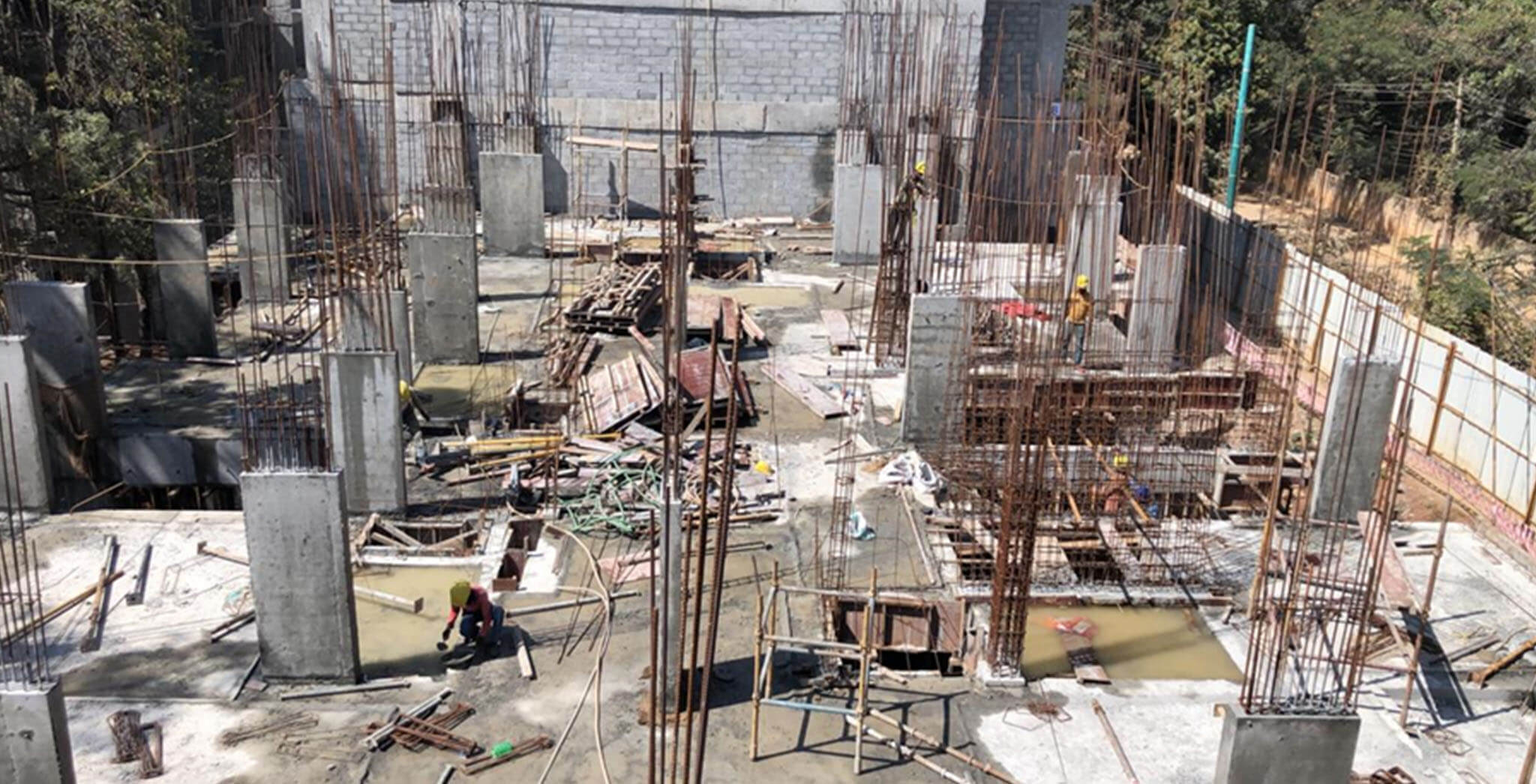Dec 2020 - C Block: 1st to 2nd floor column work-in-progress.