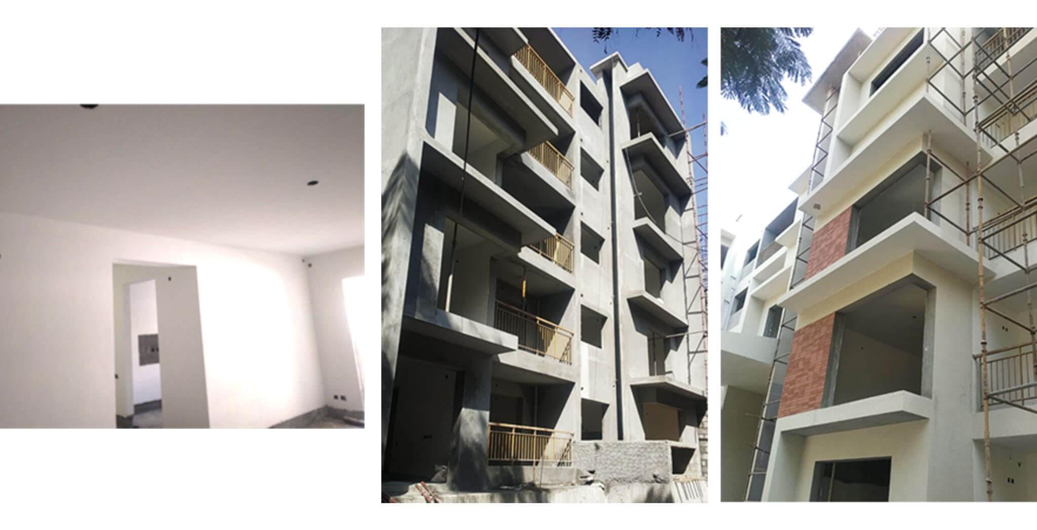Dec 2020 - E Block: North Elevation external texture and cladding, South Elevation external plastering work-in-progress; Up to 3rd floor internal plastering work completed
