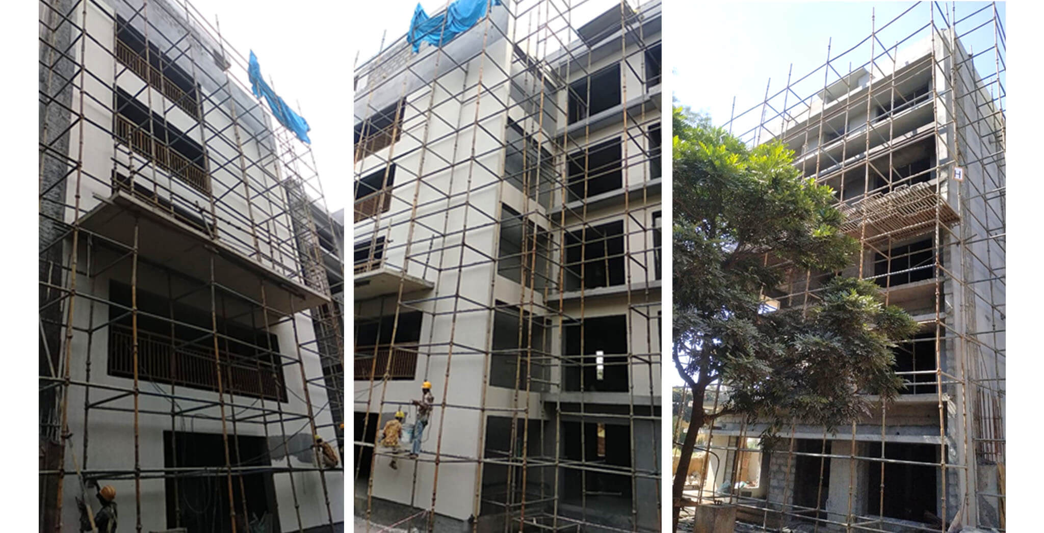 Dec 2020 - H Block: East Elevation external plastering and North elevation external texture work-in-progress.