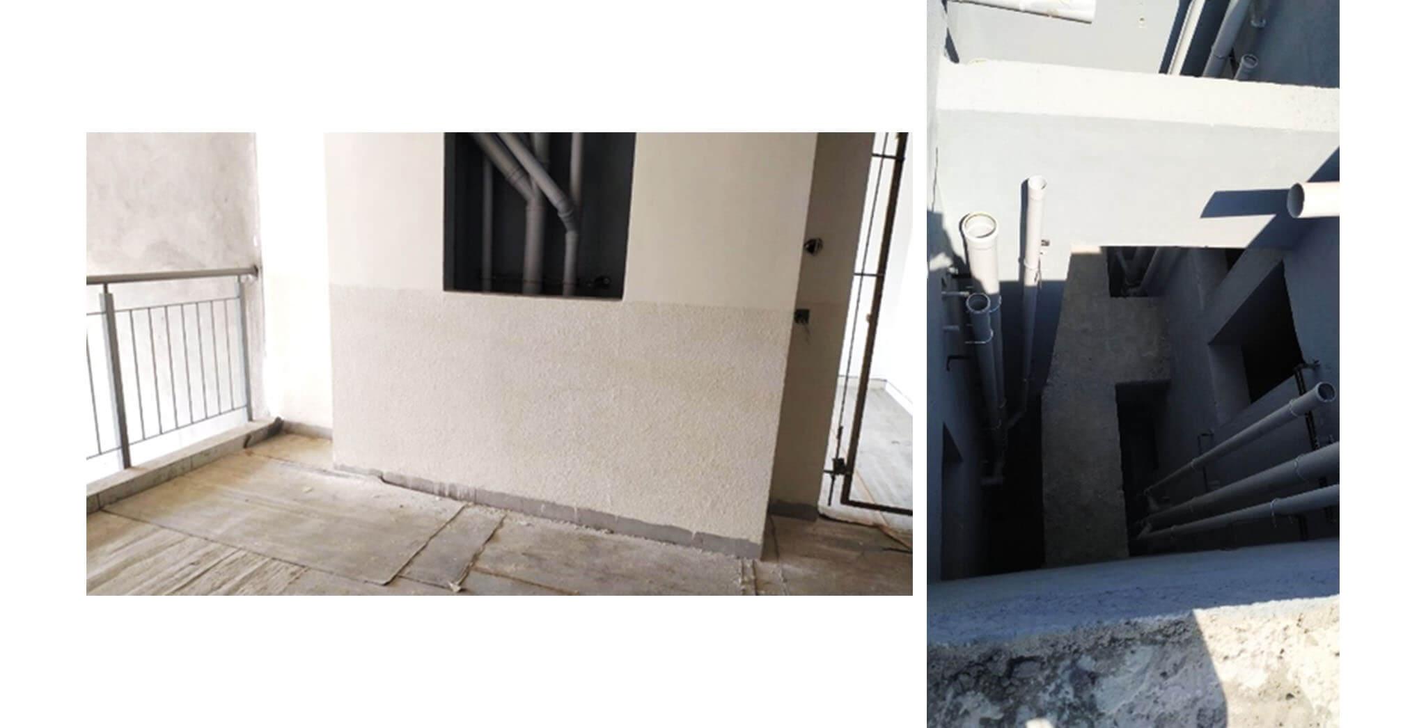 Dec 2020 - K Block: Lobby painting and flooring, Shaft piping work-in-progress.
