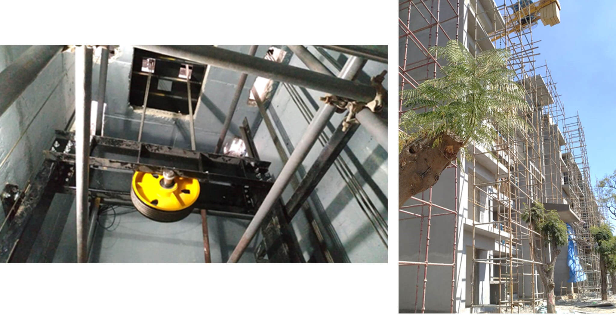 Dec 2020 - K Block: LMR-Lift installation, South elevation external plastering work-in-progress.