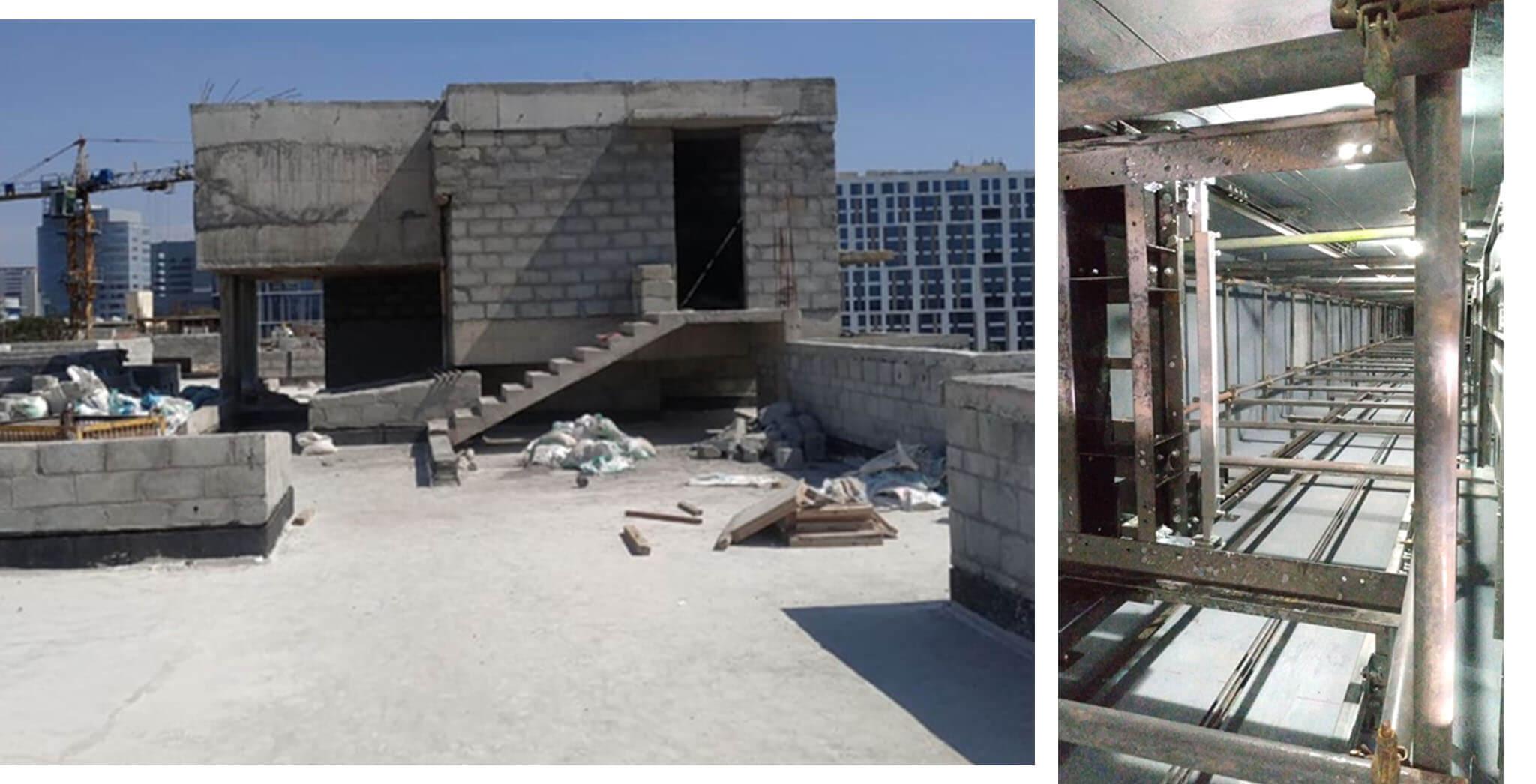 Dec 2020 - L Block: LMR top slab and OHT, Terrace floor waterproofing-screed work completed; Lift installation work-in-progress.