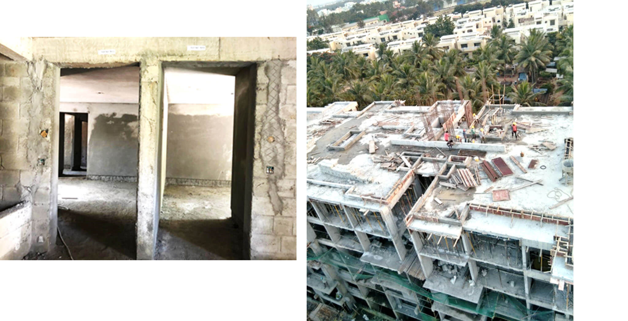 Dec 2020 - N Block: Terrace floor slab concreting work completed; 3rd floor block, Ground floor internal plastering work-in-progress.