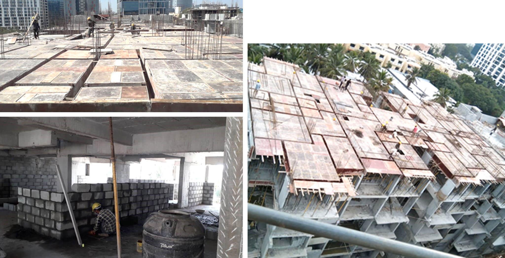 Dec 2020 - P Block: Terrace floor slab shuttering, 2nd floor blockwork in progress
