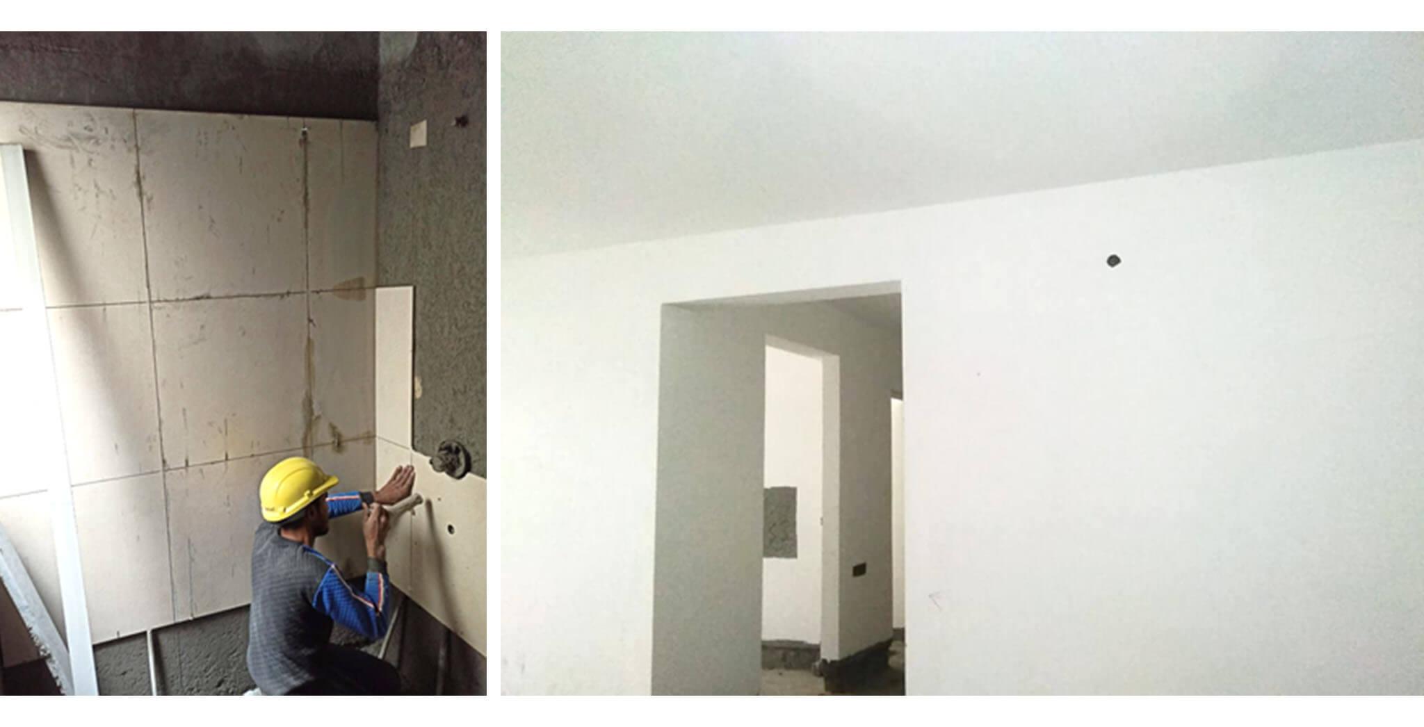 Dec 2020 - Q Block: Ground floor toilet dado work-in-progress; Up to 4th floor putty works completed.