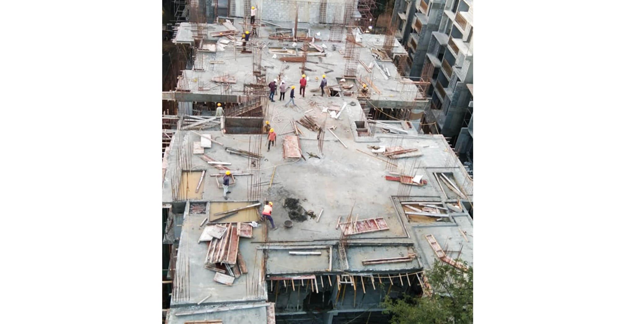 Dec 2020 - S Block: 4th floor slab concreting work completed.