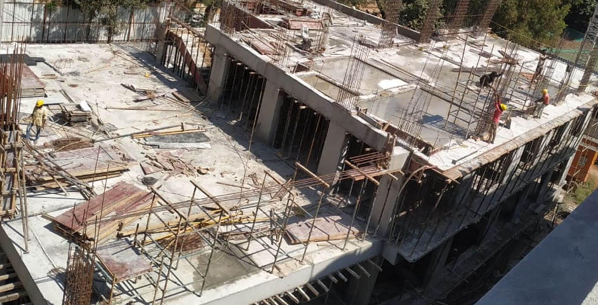 Dec 2020 - Club House: Above 2nd floor slab column reinforcement work-in-progress.