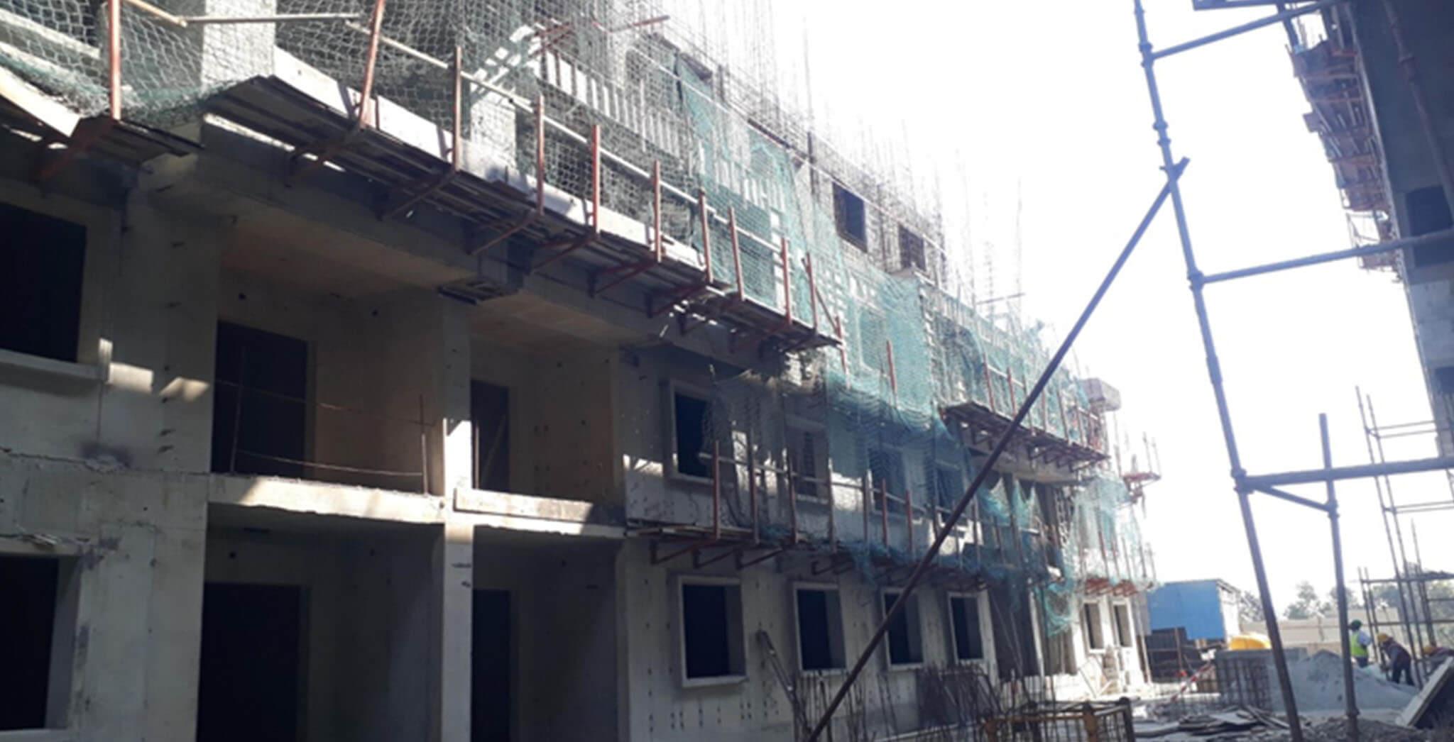 Feb 2021 - L Block: Fourth and third floor slab work-in-progress