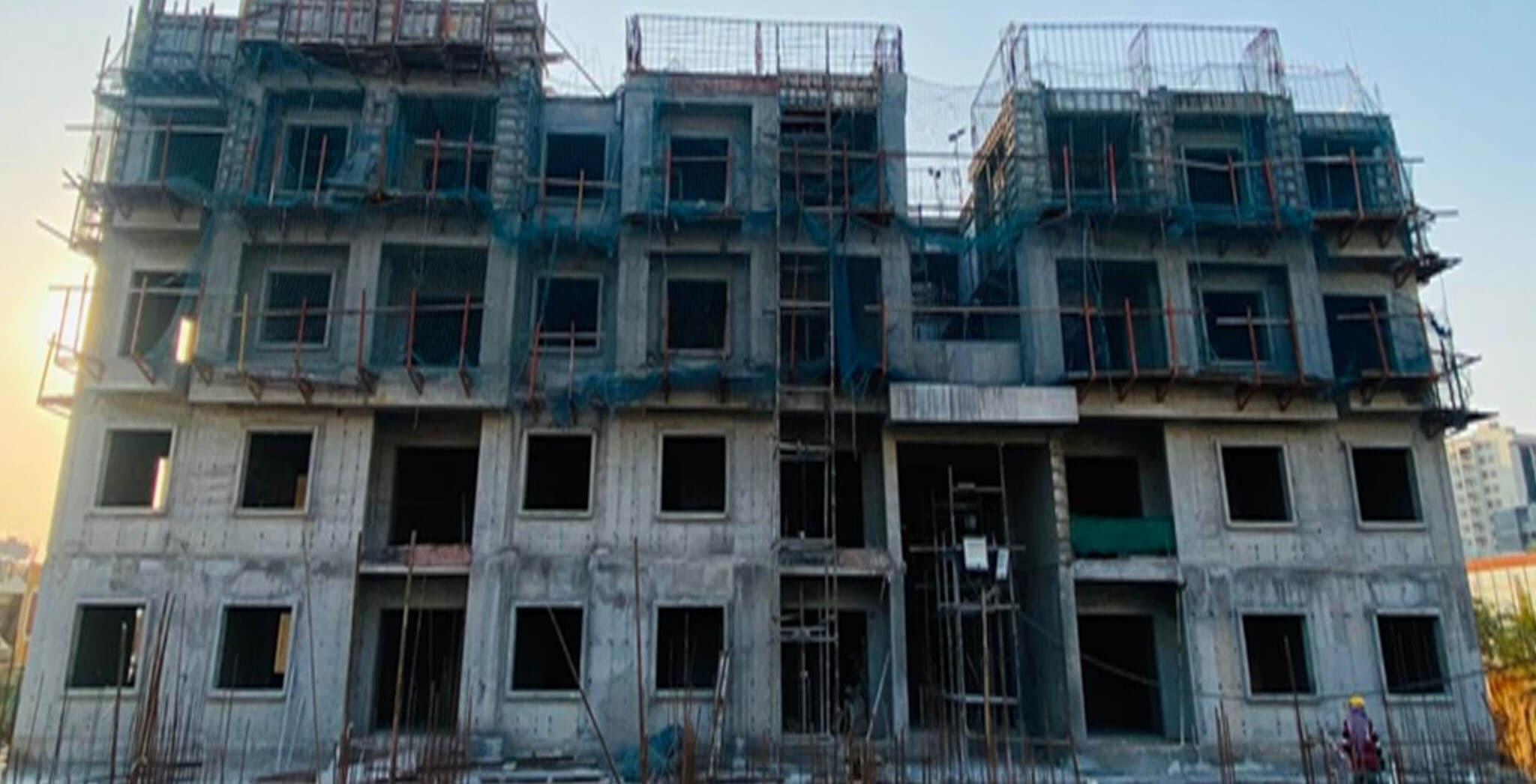 Mar 2021 - B Block: On casting of terrace floor slab, 1st March 2021