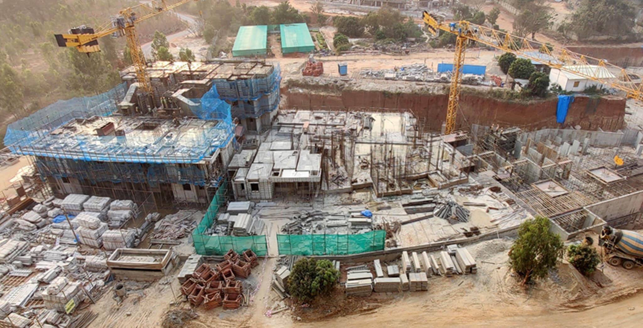 Feb 2021 - Halcyon: Tower I—Third floor slab work-in-progress; Tower J—Part first floor slab work and part ground floor in progress
