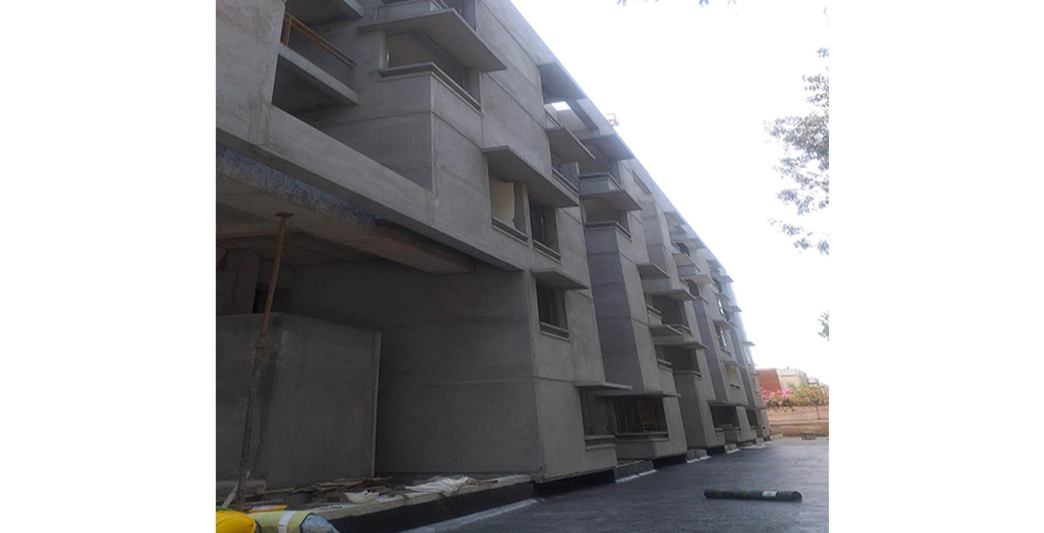 Feb 2021 - Towards West side view: L Block—Waterproofing work-in-progress at podium level