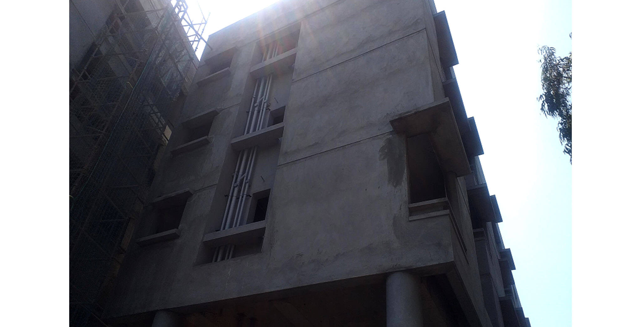 Feb 2021 - Towards North side view: M Block—External plastering works completed