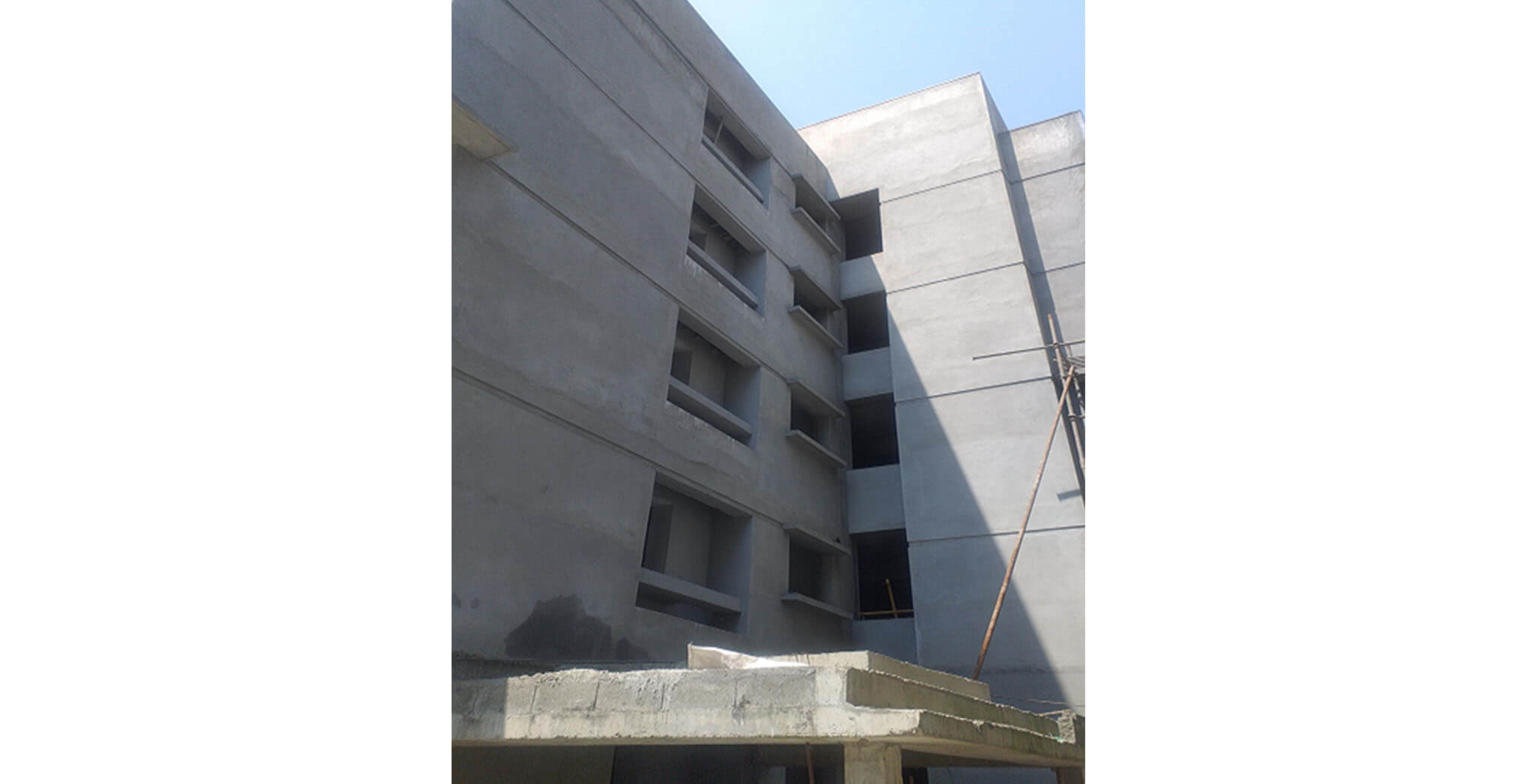 Feb 2021 - Towards Podium side view: M Block—External plastering works completed