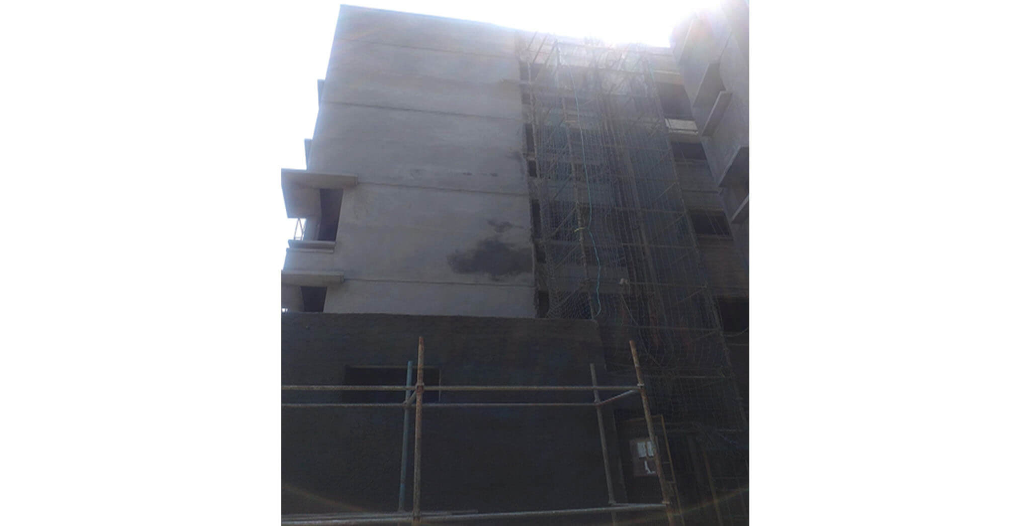 Feb 2021 - Towards West side view: N Block—External plastering works completed