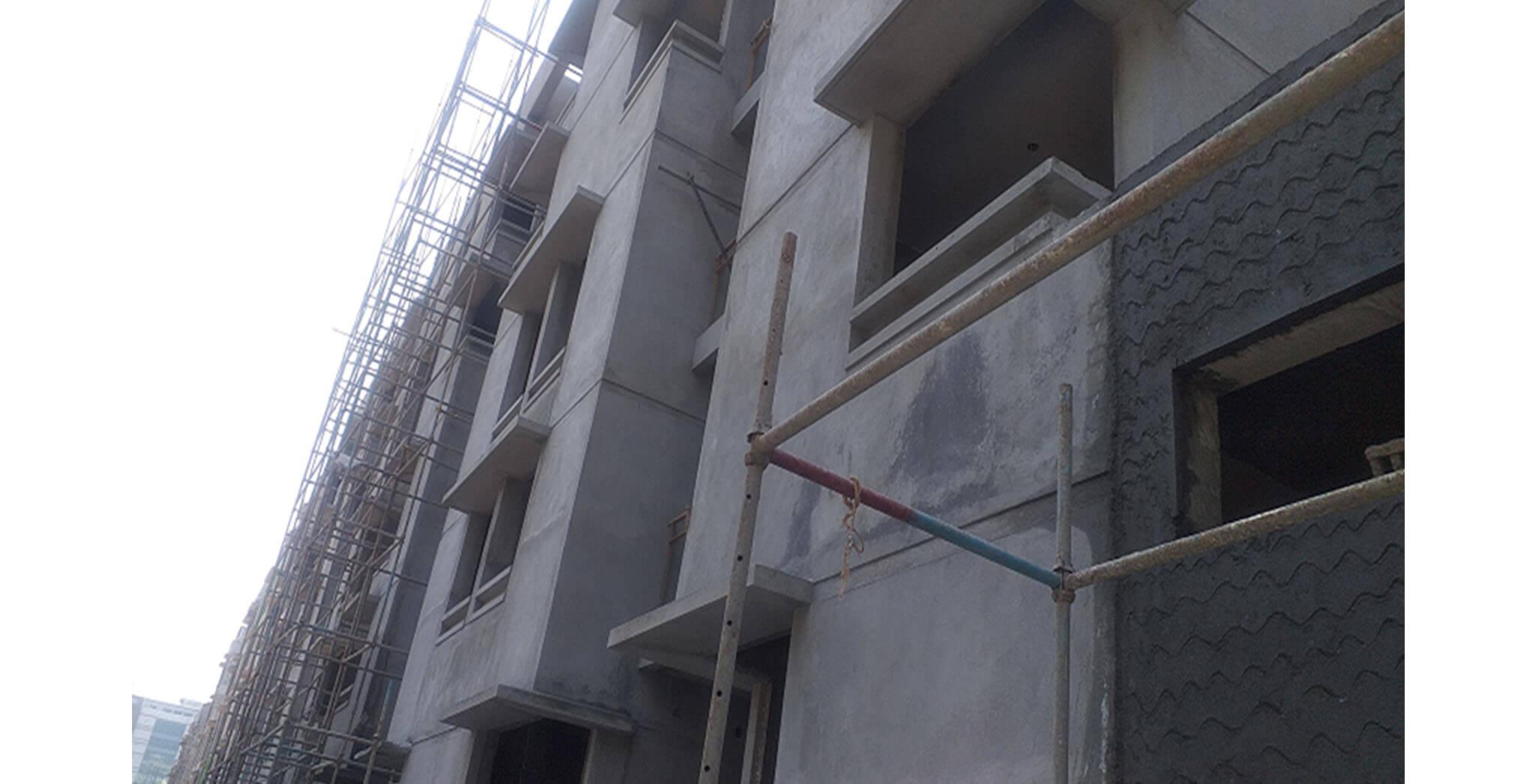 Feb 2021 - Towards North side view: N Block—52 & 53 series flat external plastering work completed