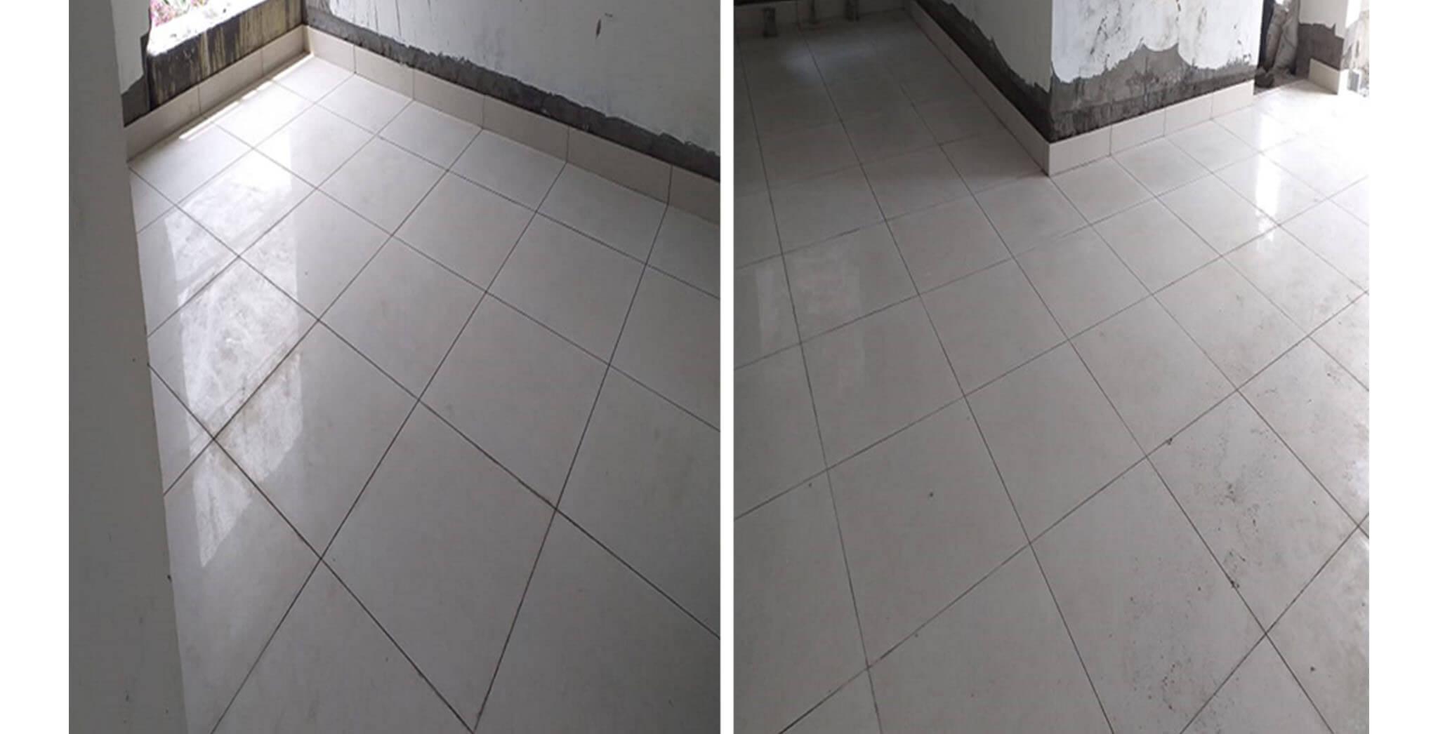 Feb 2021 - West side view: P Block—Tiling work-in-progress