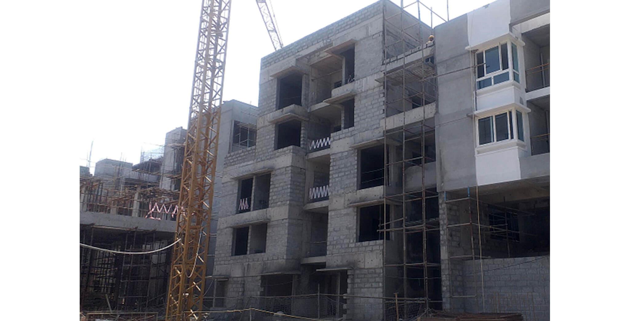 Feb 2021 - Podium side view: J Block—Internal plastering work-in-progress