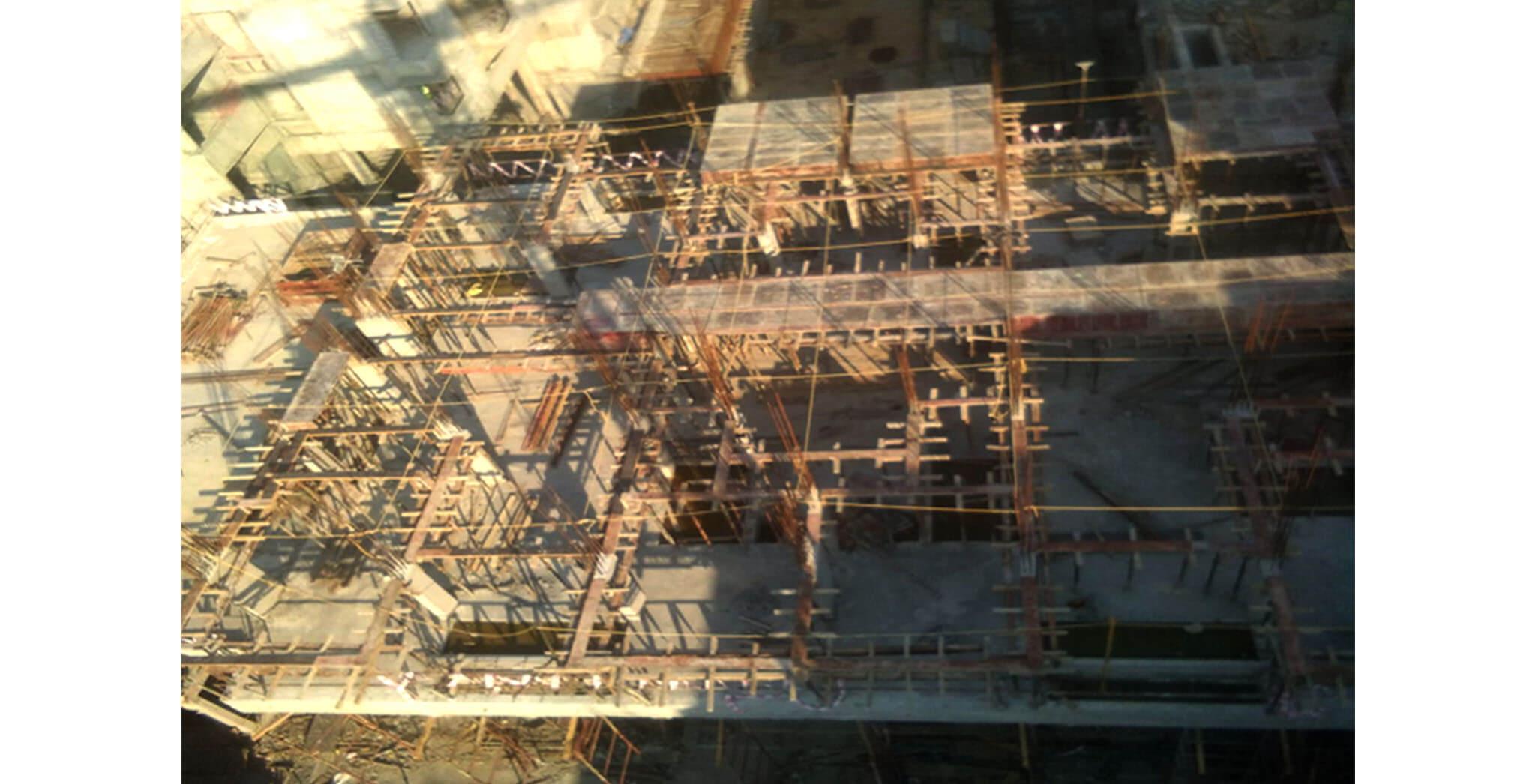Feb 2021 - Podium side view: H Block—Third Floor shuttering work-in-progress