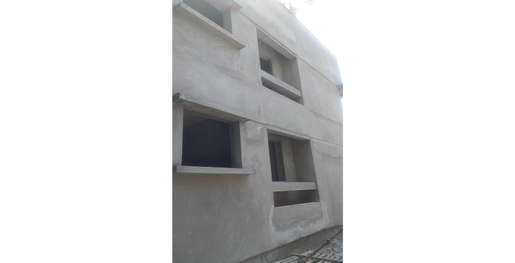 Feb 2021 - Podium view: A Block—External plastering