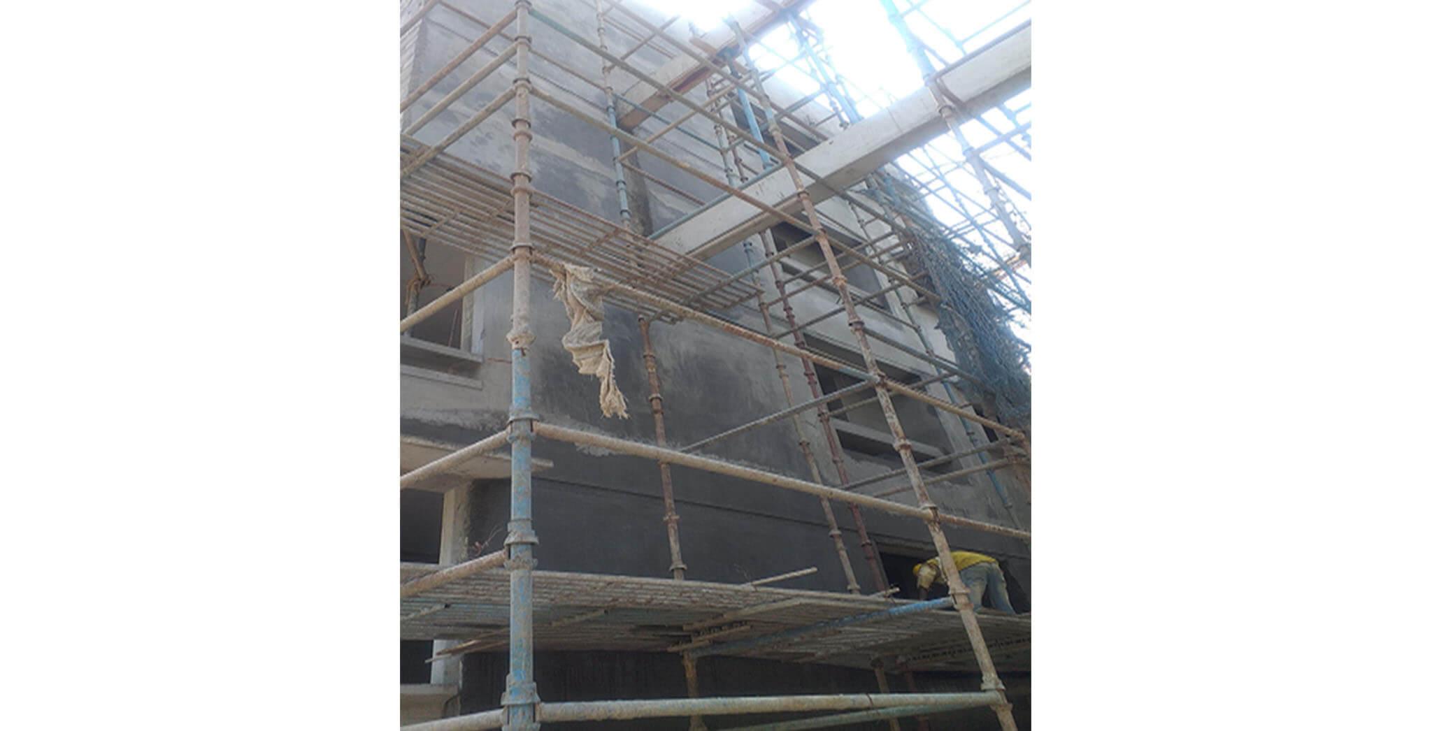 Feb 2021 - North side view: A Block—2 Series flat external plastering work-in-progress