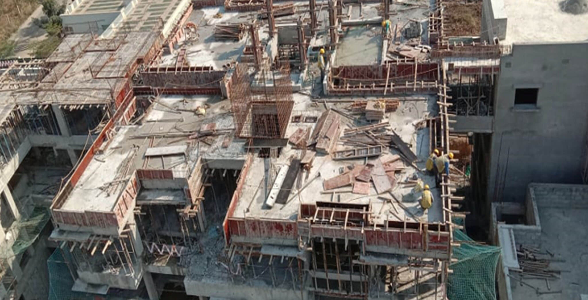 Feb 2021 - South side view: D Block—Terrace floor slab completed