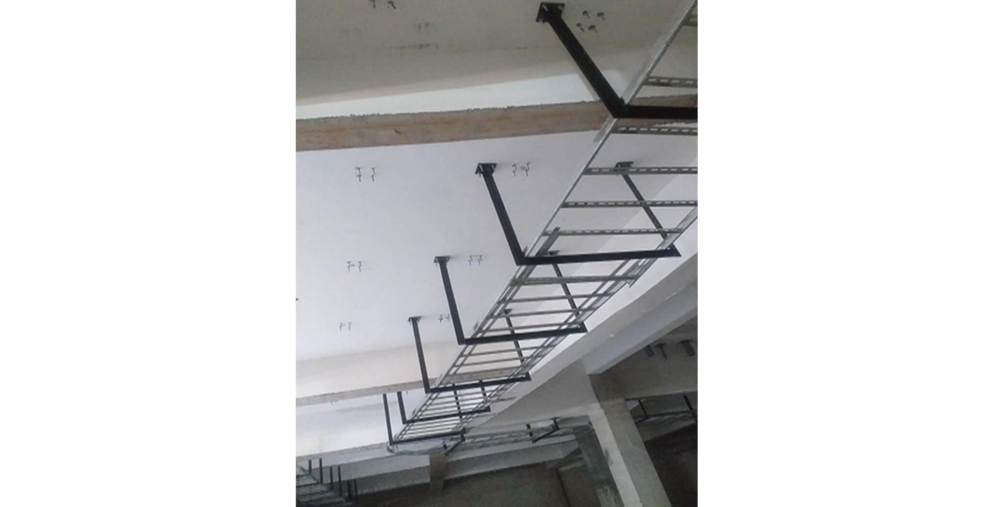 Feb 2021 - Basement ceiling view: Cable tray in progress at J, K, L, M, N & P blocks