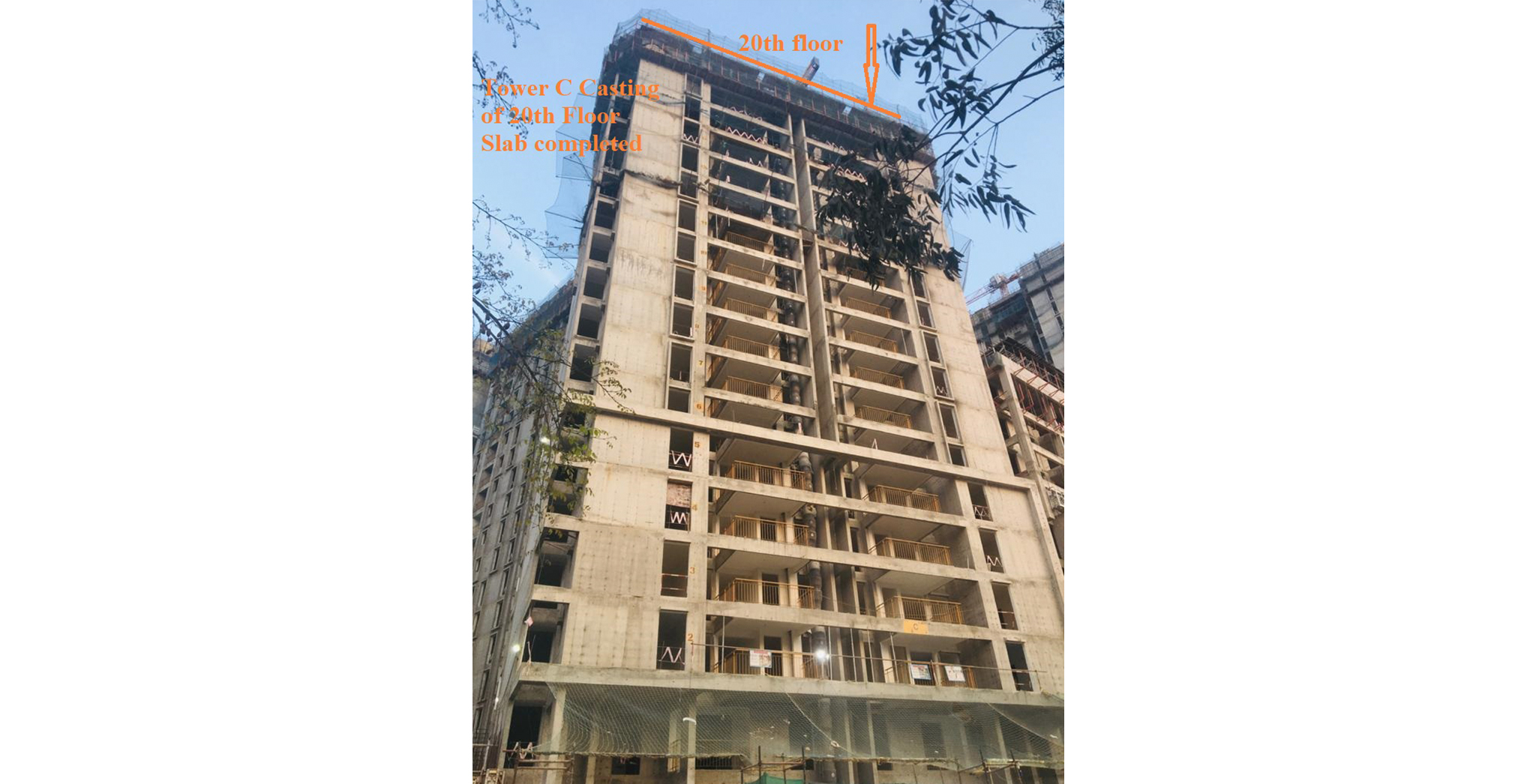 Apr 2021 - Serene C – On Casting of 20th  Floor Slab - Status as of 15th April 2020