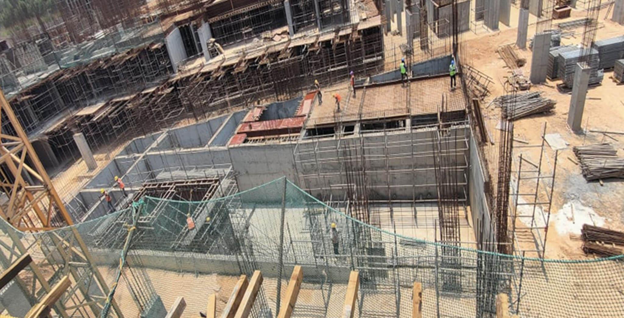 Apr 2021 - Jasper Block: STP wall casting and slab work-in-progress