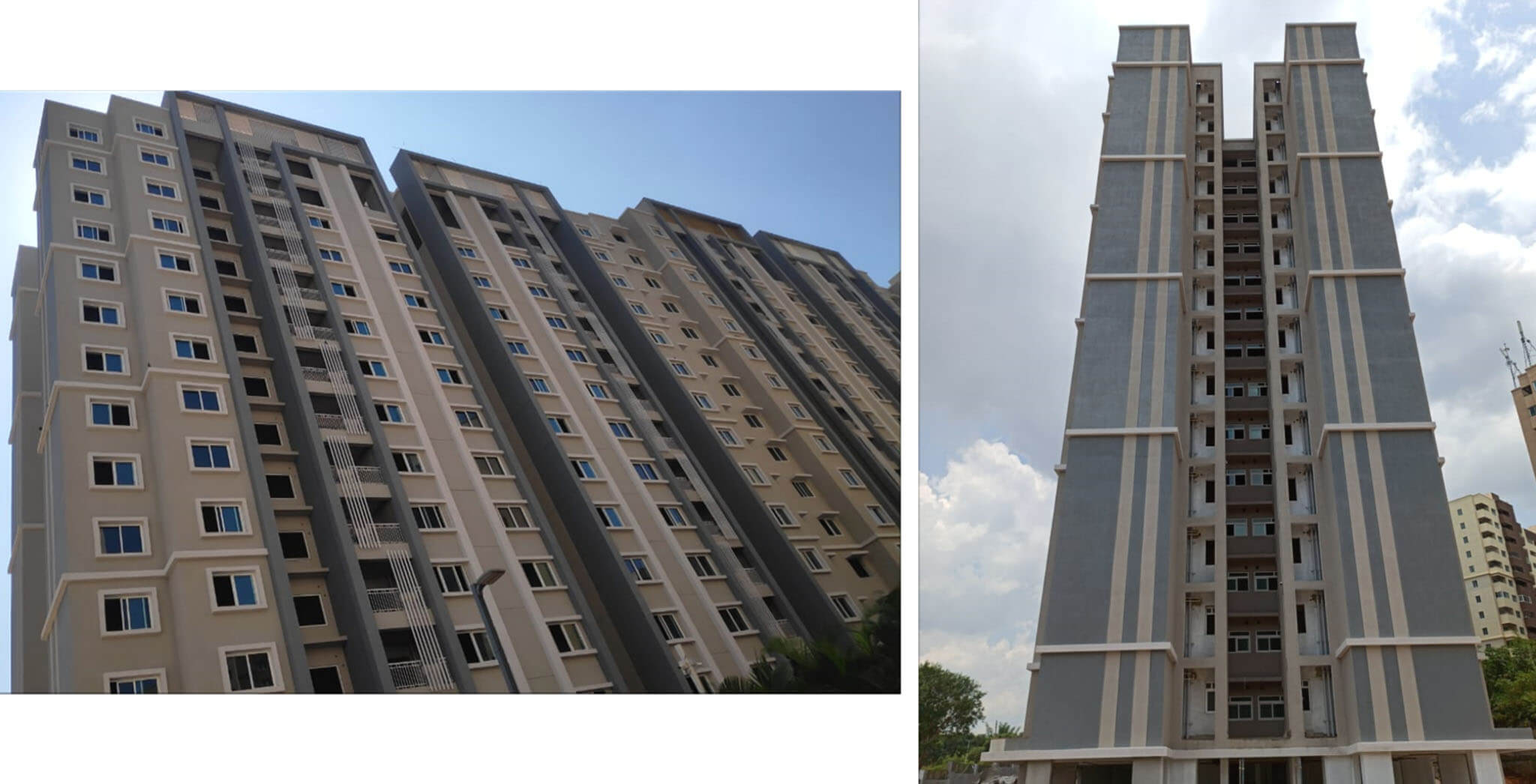 Apr 2021 - Towers E, F & G: Structure completed; External plastering 100% completed, external painting 100% completed & internal finishes in progress