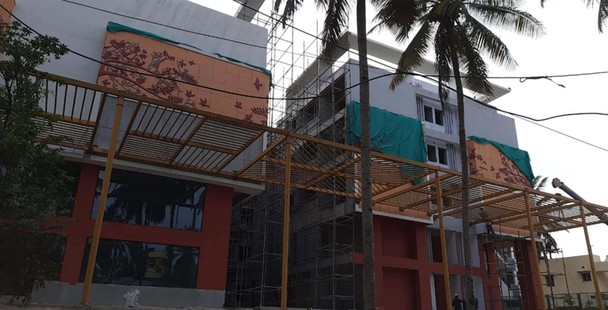 Apr 2021 - East entry pergola work under progress