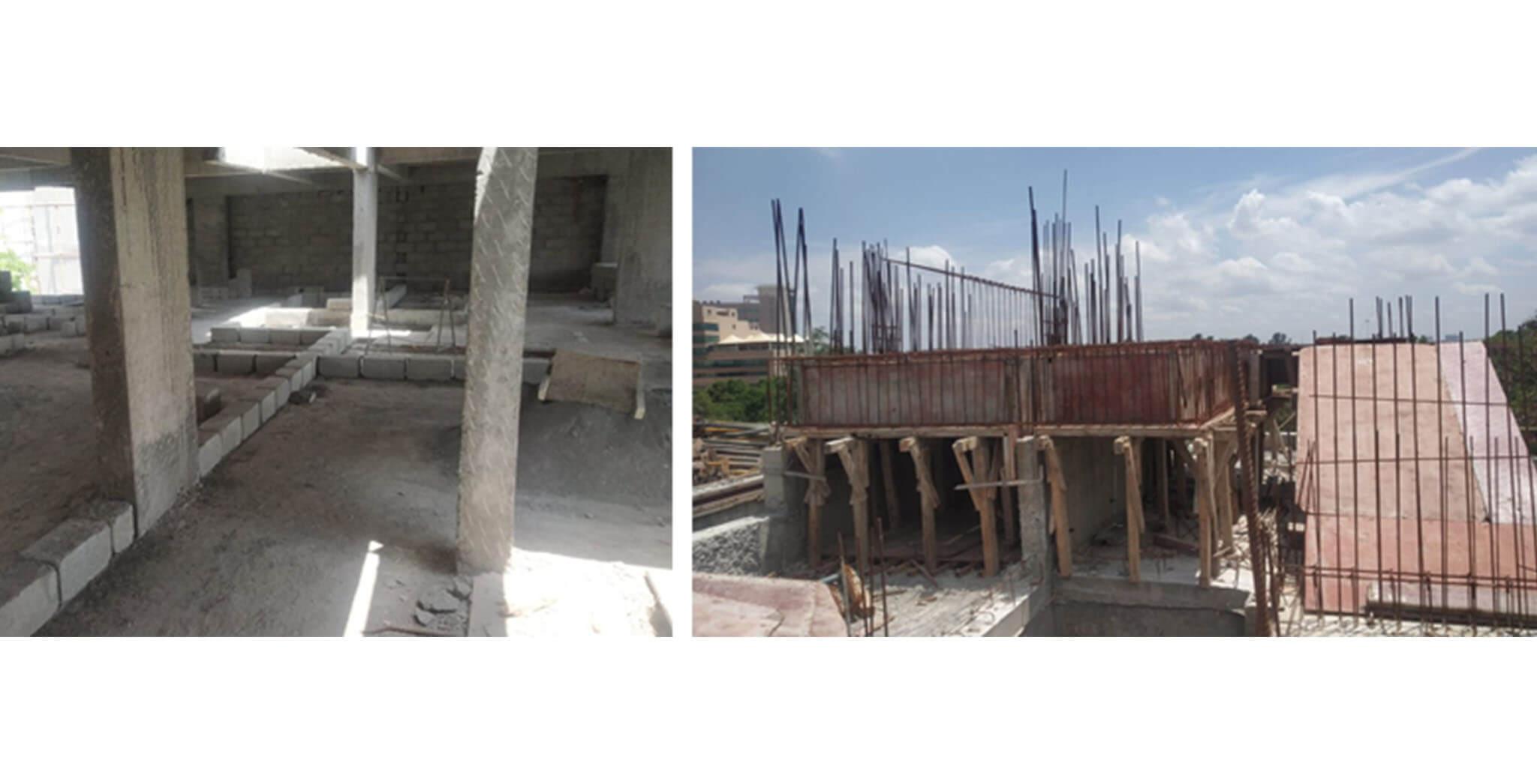 May 2021 - C Block: 4th floor block work commenced; SHR and LMR bottom slab shuttering work-in-progress.