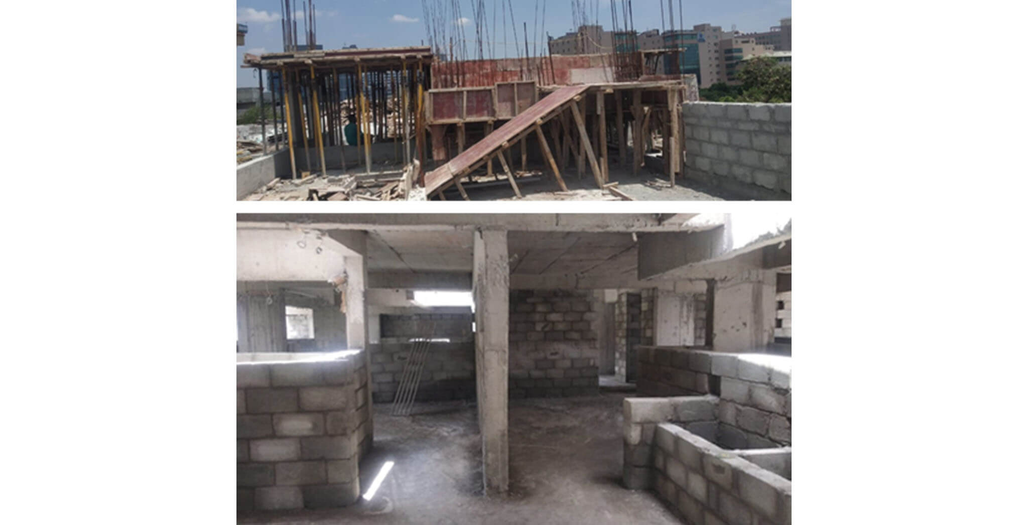 May 2021 - D Block: SHR and LMR bottom shuttering and 4th floor block work-in-progress.