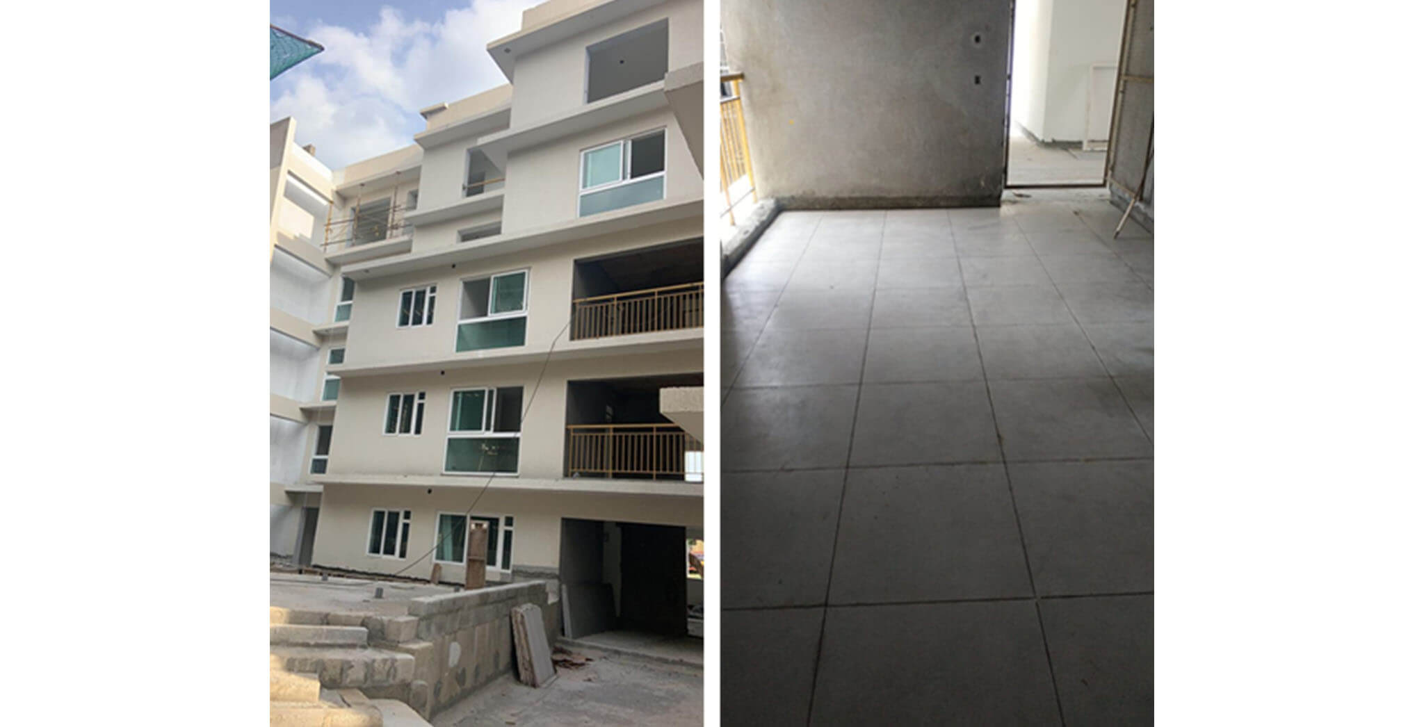 May 2021 - J Block: 1st to 4th floor lobby flooring, and  UPVC window installation work-in-progress.