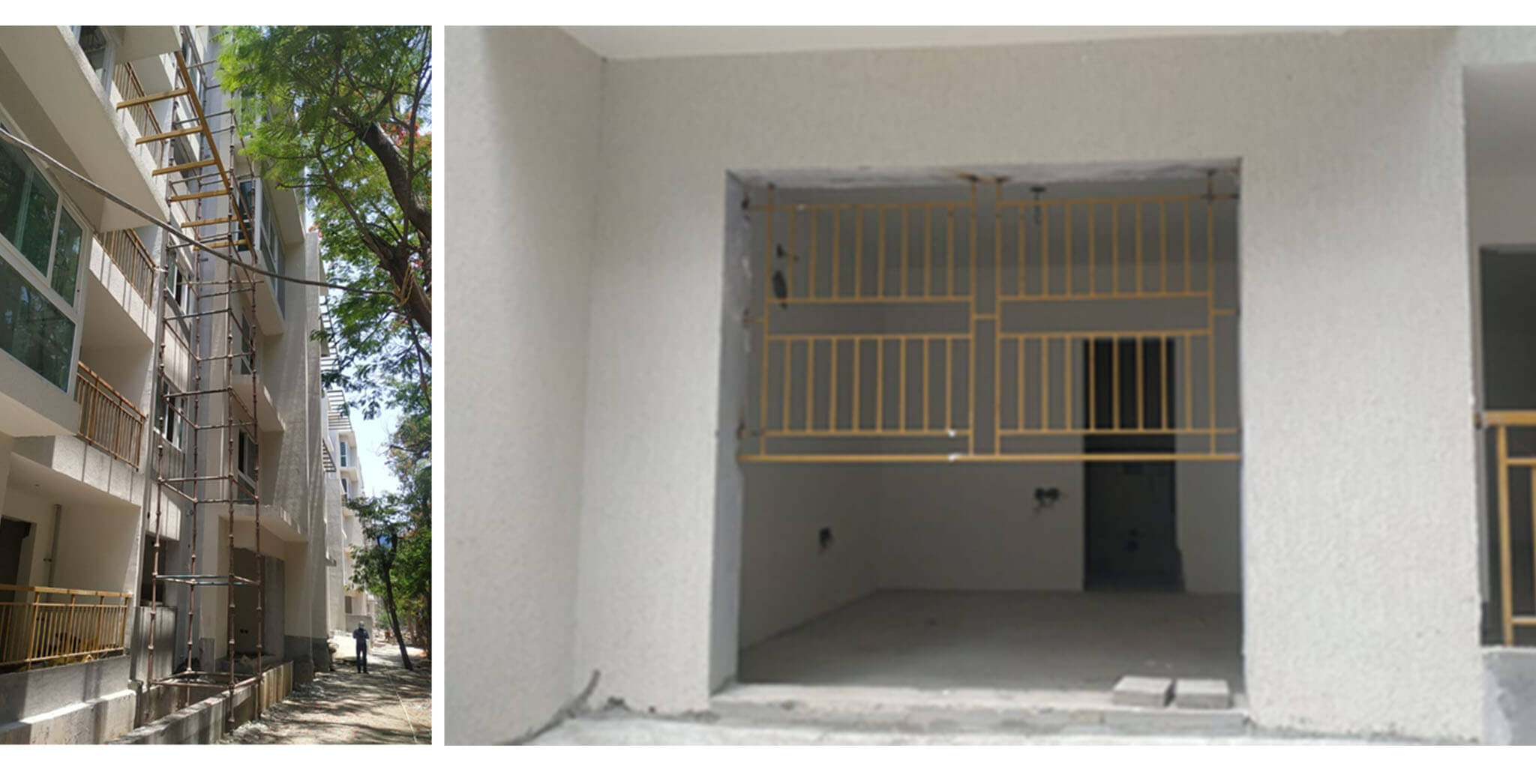 May 2021 - K Block: 1st floor wall painting & grouting work, Kitchen utility PHE external shaft piping works commenced; Ground floor lobby granite cladding, Staircase and lobby area wall putty, and Window grill installation work-in-progress; Main door installation works at 3rd floor.