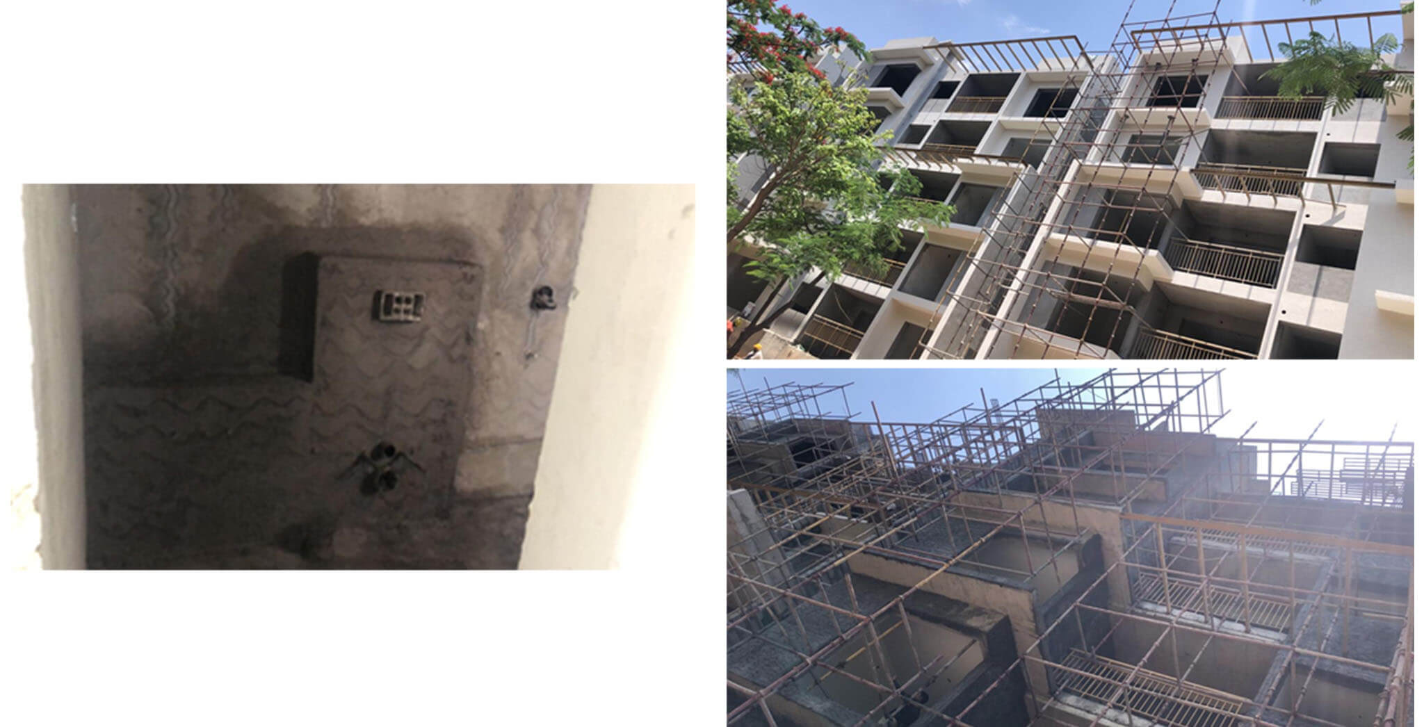 May 2021 - M Block: Up to 3rd floor 2-coats putty, North elevation external texture, and Up to 3rd floor ledge wall plastering work completed; South elevation pergola works completed and external plastering, 4th floor internal plastering work-in-progress.