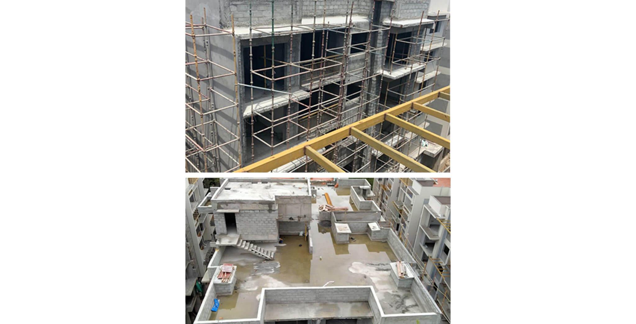 May 2021 - S Block: North elevation flat-66 series chajja waterproofing & external plastering, and Lift pit waterproofing works completed; North elevation flat-65 series chajja waterproofing, Terrace floor waterproofing testing, North elevation Balcony railing, and LMR internal plastering work-in-progress.