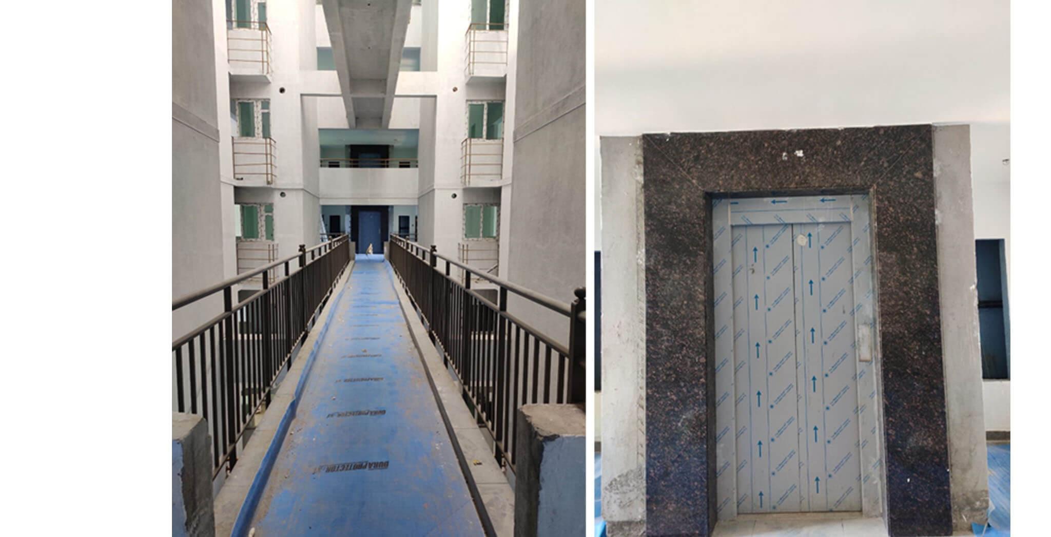 May 2021 - Connecting bridge—tiling work & lift cladding