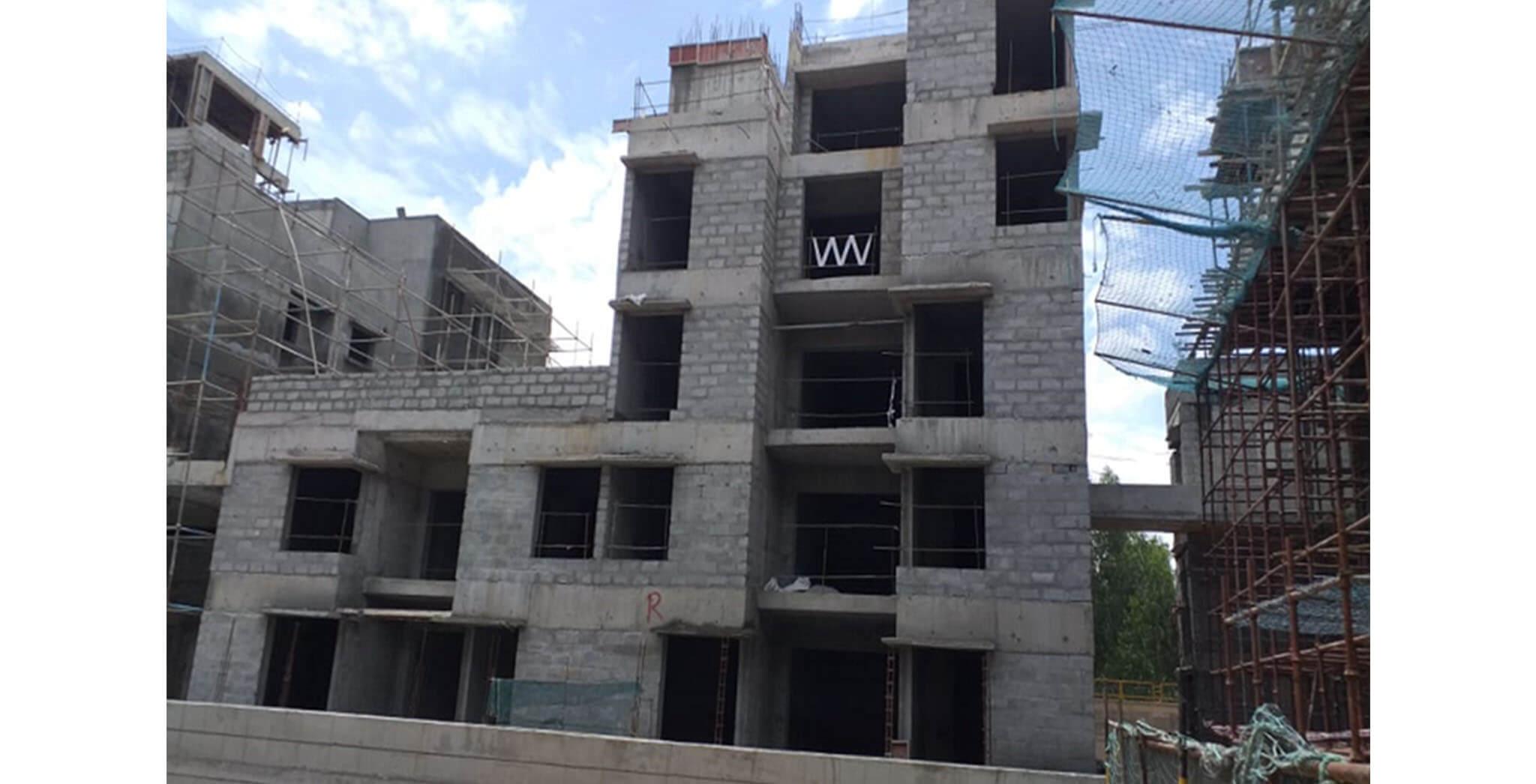 Jun 2021 - Podium side: Block R—Internal plastering work-in-progress at 4th floor level