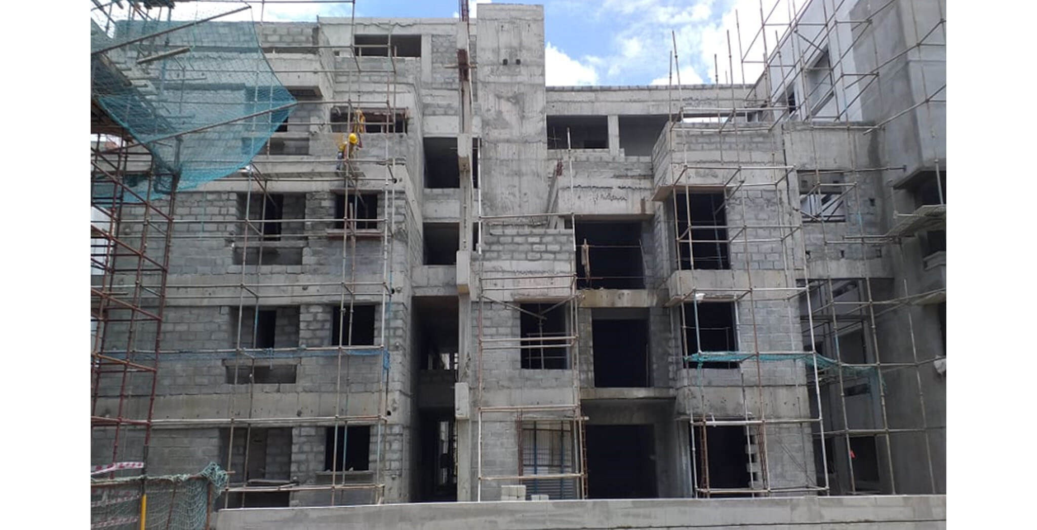 Jun 2021 - Block F: Podium side external plastering work-in-progress