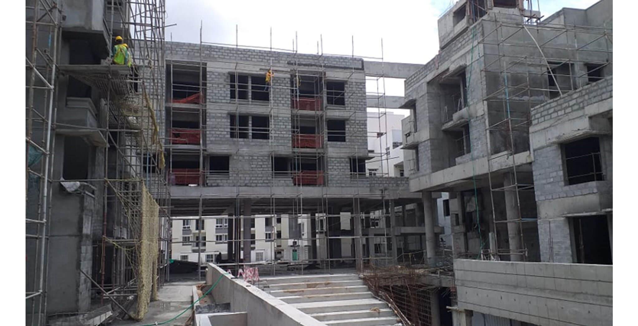 Jun 2021 - Block H: Podium side external plastering surface preparation work-in-progress