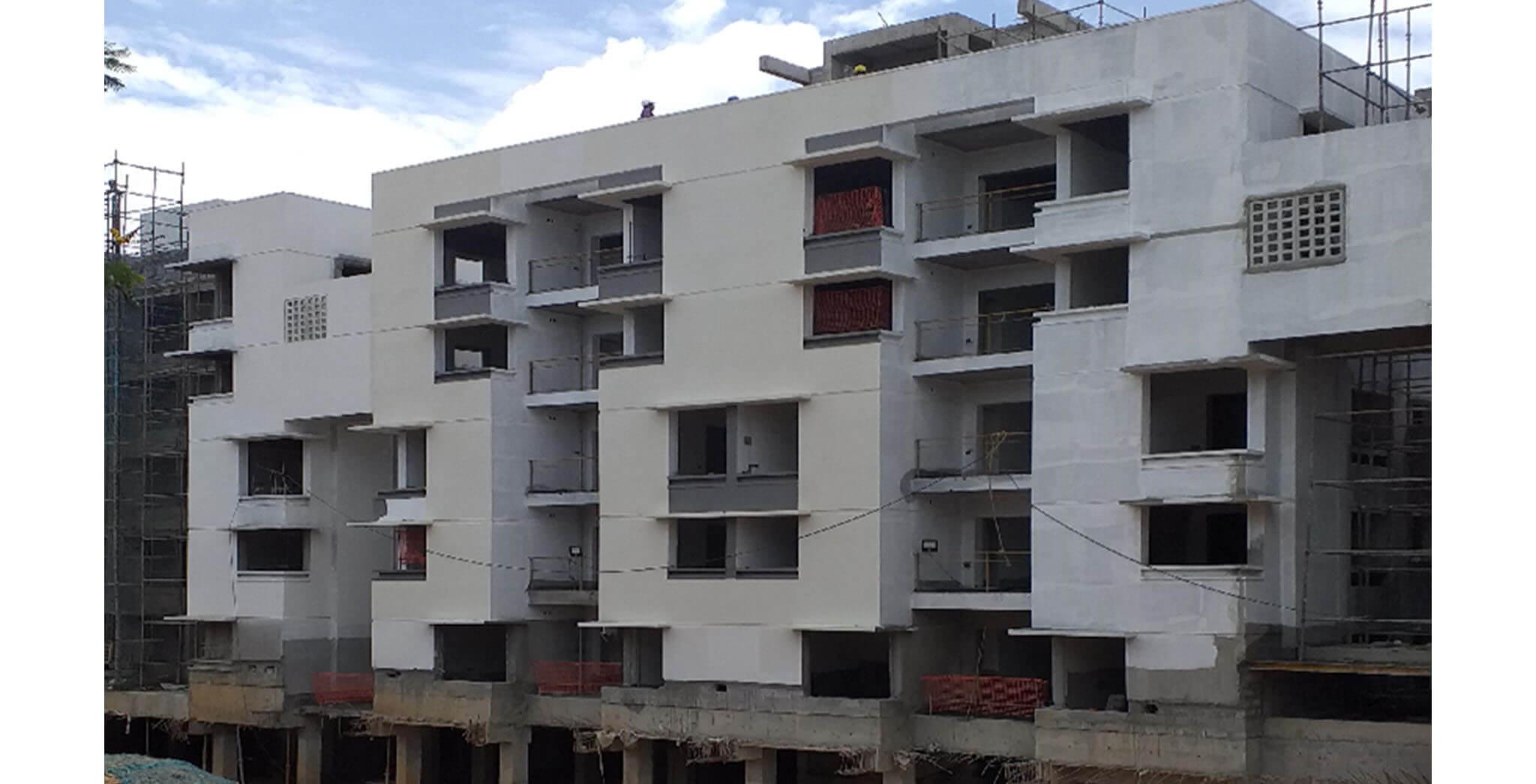 Jun 2021 - South side view: Block G—External texture painting work-in-progress