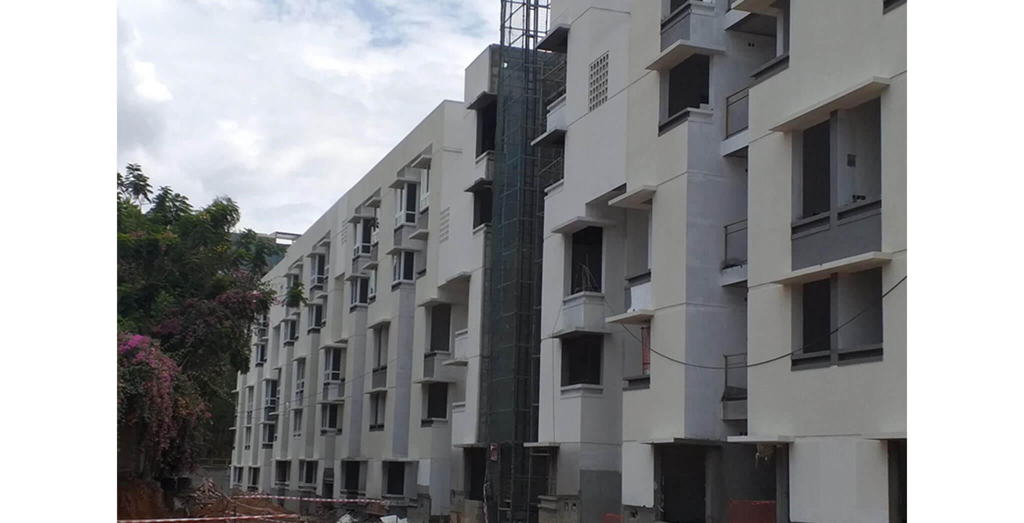 Jun 2021 - South side view: Blocks G to L—External texture work-in-progress