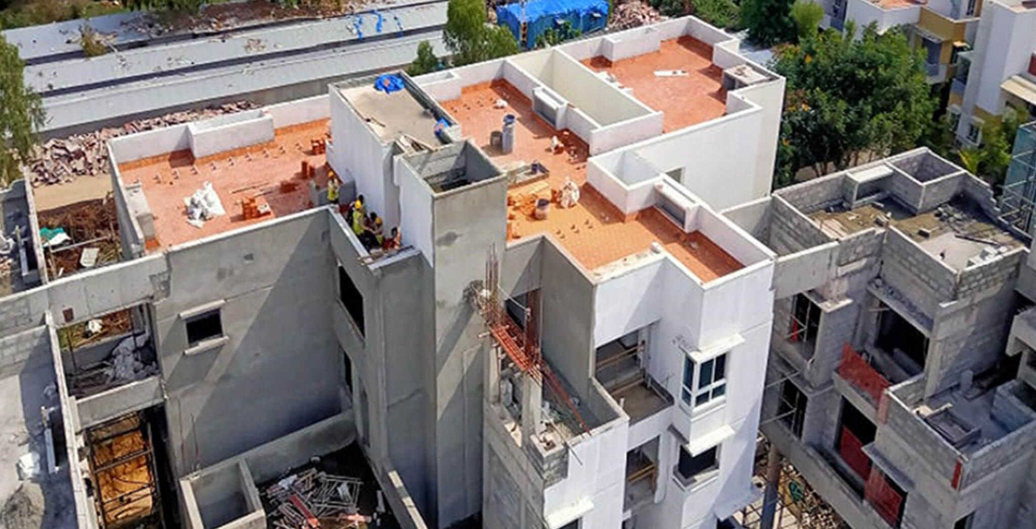 Jun 2021 - Block E: Above terrace tiling work-in-progress